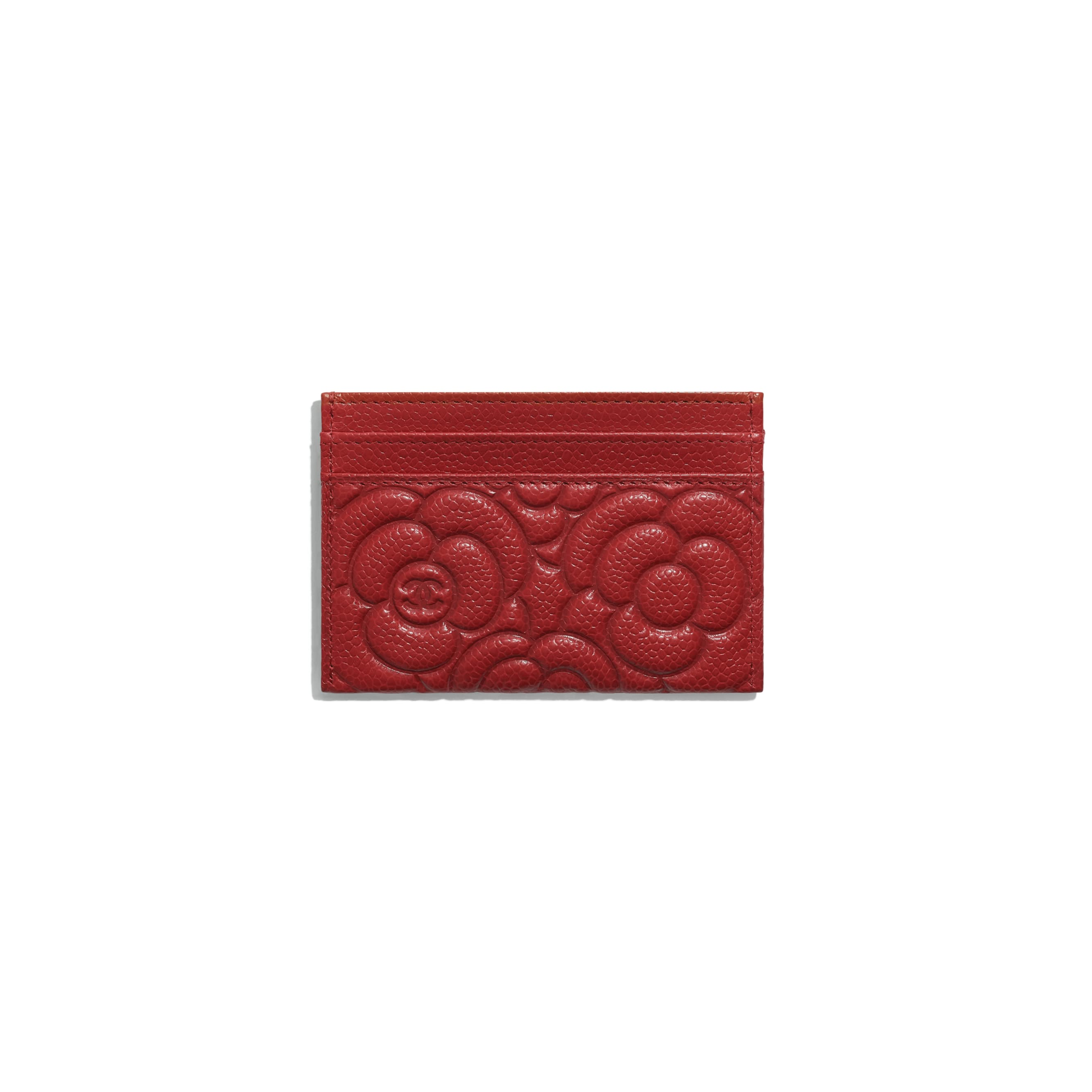 Card Holder - Red - Grained Shiny Calfskin & Gold-Tone Metal - Alternative view - see standard sized version