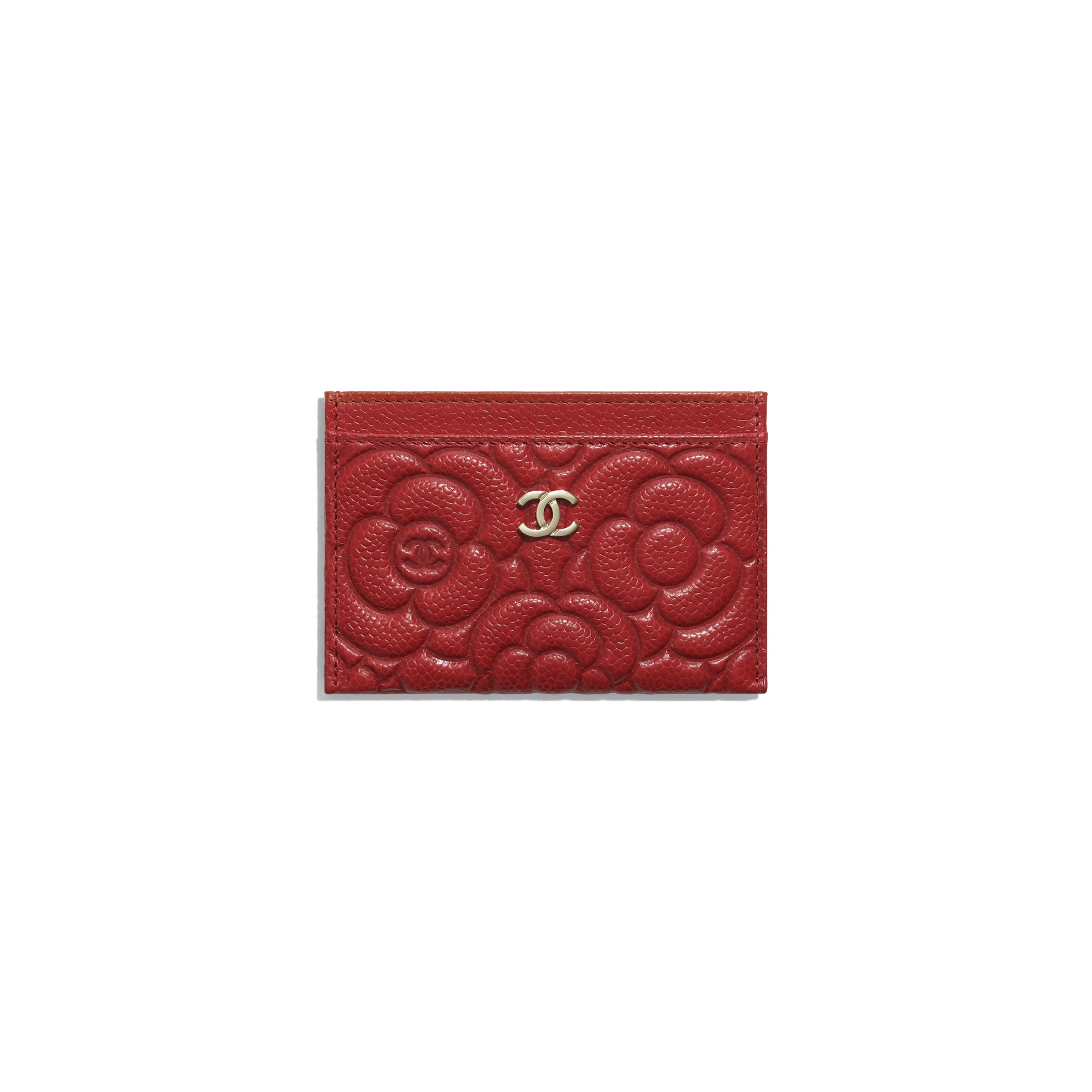 Card Holder - Red - Grained Shiny Calfskin & Gold-Tone Metal - Default view - see standard sized version