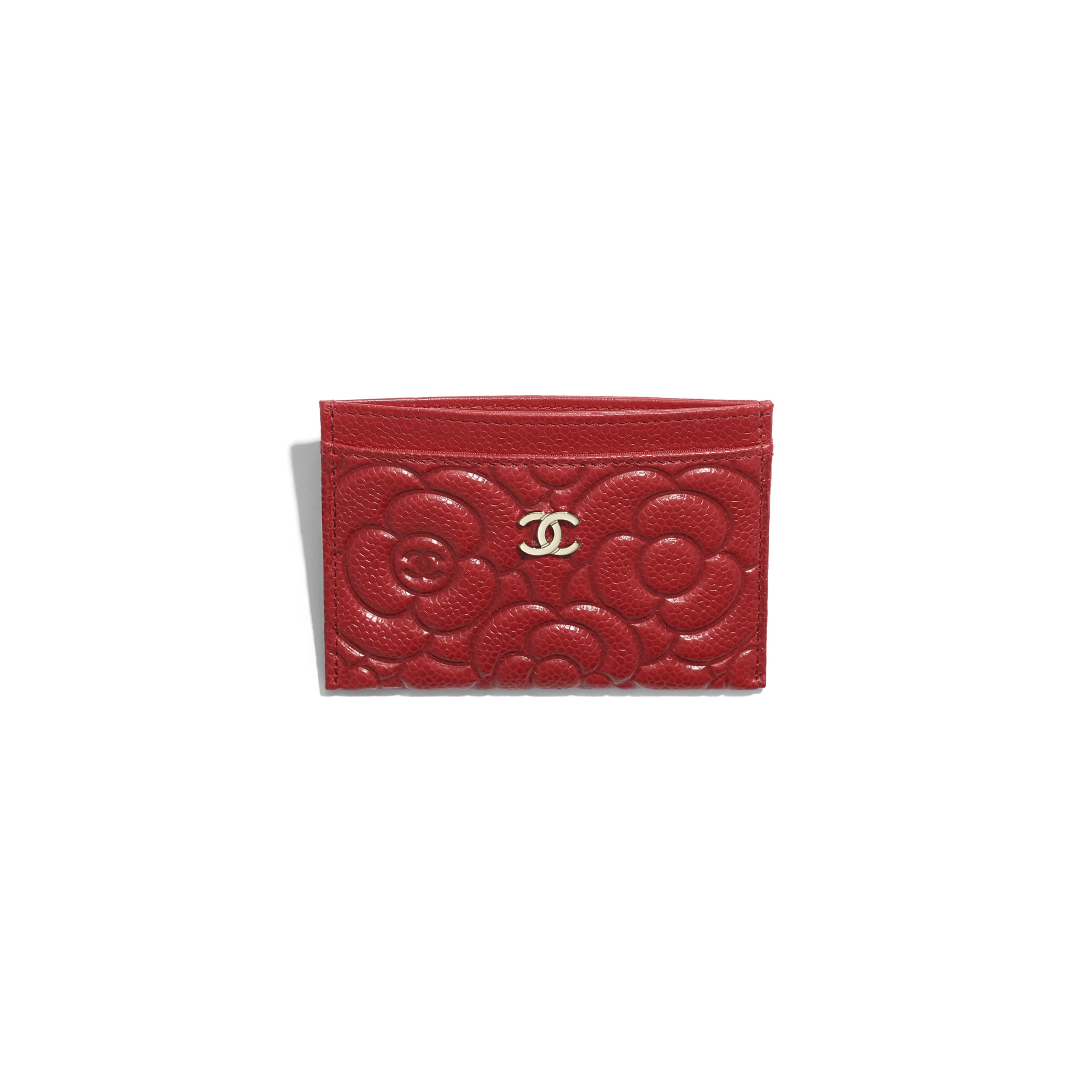 Card Holder - Red - Grained Shiny Calfskin & Gold-Tone Metal - Other view - see standard sized version