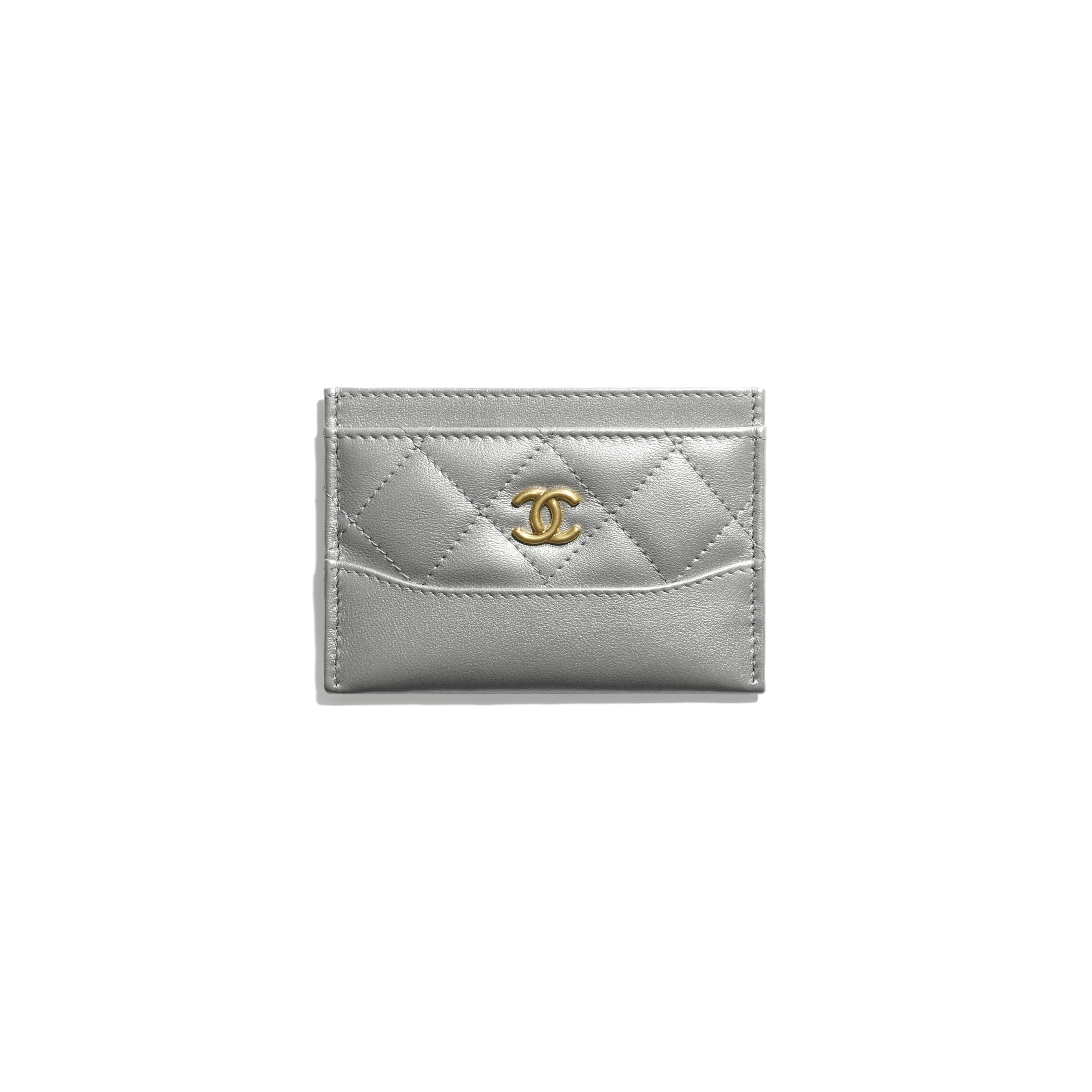 Card Holder - Silver - Metallic Aged Calfskin, Metallic Caflskin & Gold-Tone Metal - CHANEL - Default view - see standard sized version