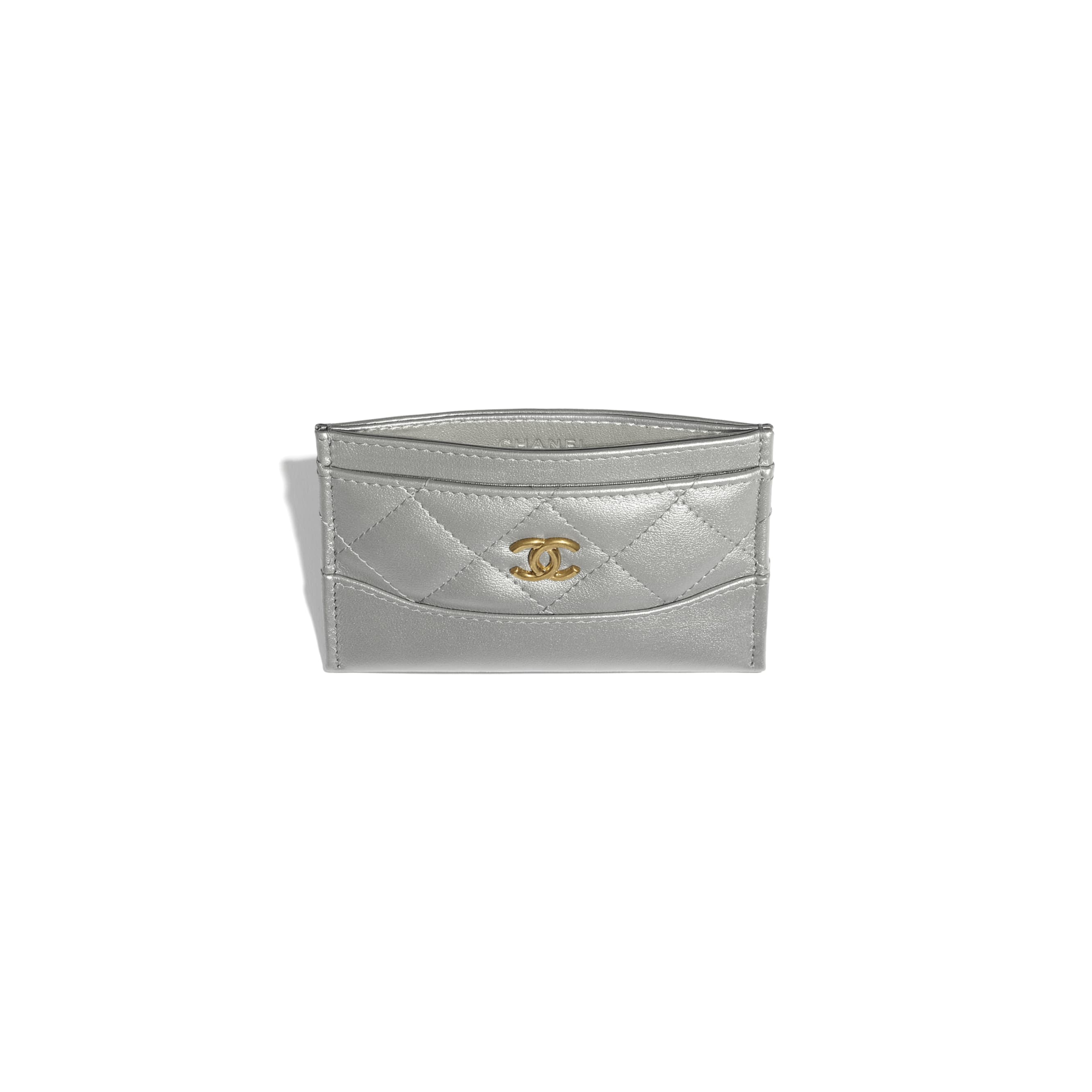 Card Holder - Silver - Metallic Aged Calfskin, Metallic Caflskin & Gold-Tone Metal - CHANEL - Other view - see standard sized version