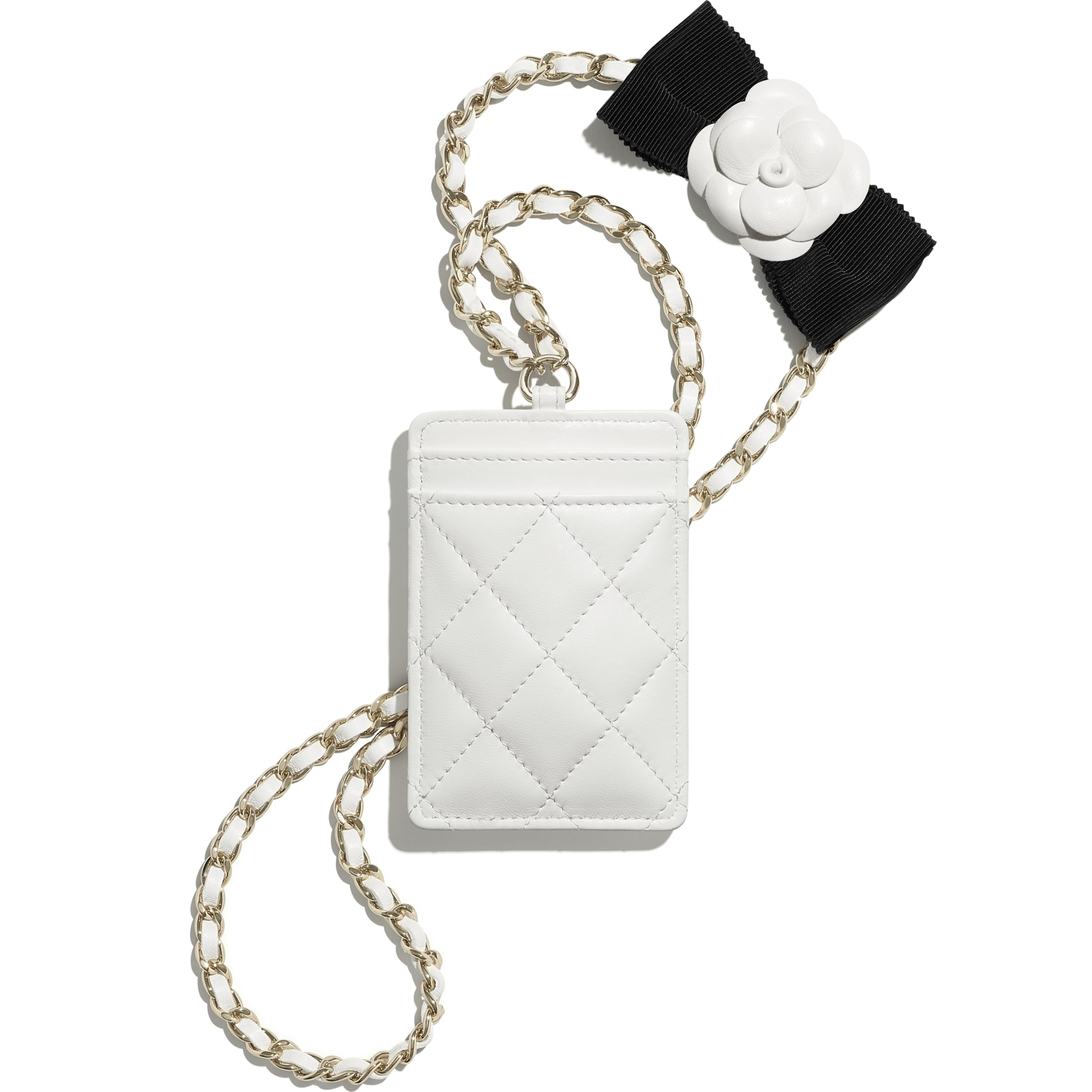 Card Holder with Chain - White - Lambskin - CHANEL - Alternative view - see standard sized version