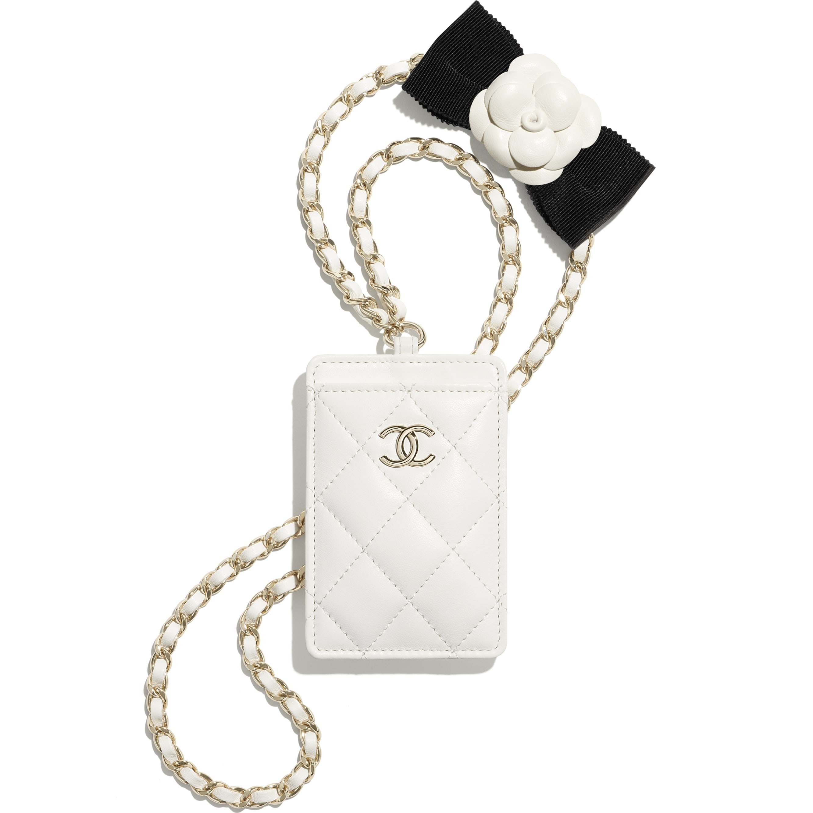 Card Holder with Chain - White - Lambskin - CHANEL - Default view - see standard sized version