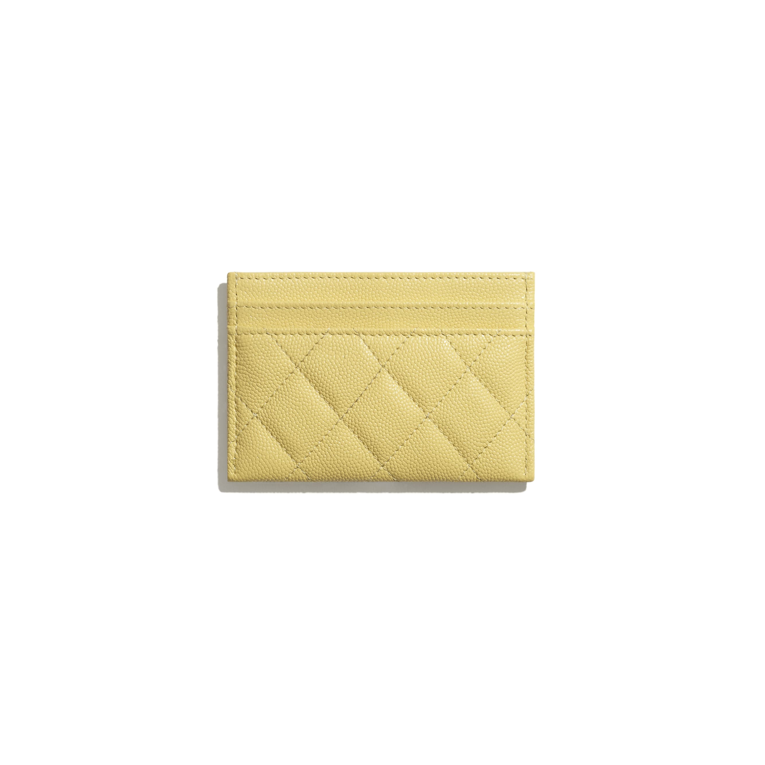 Card Holder - Yellow - Grained Calfskin & Laquered Gold-Tone Metal - CHANEL - Alternative view - see standard sized version