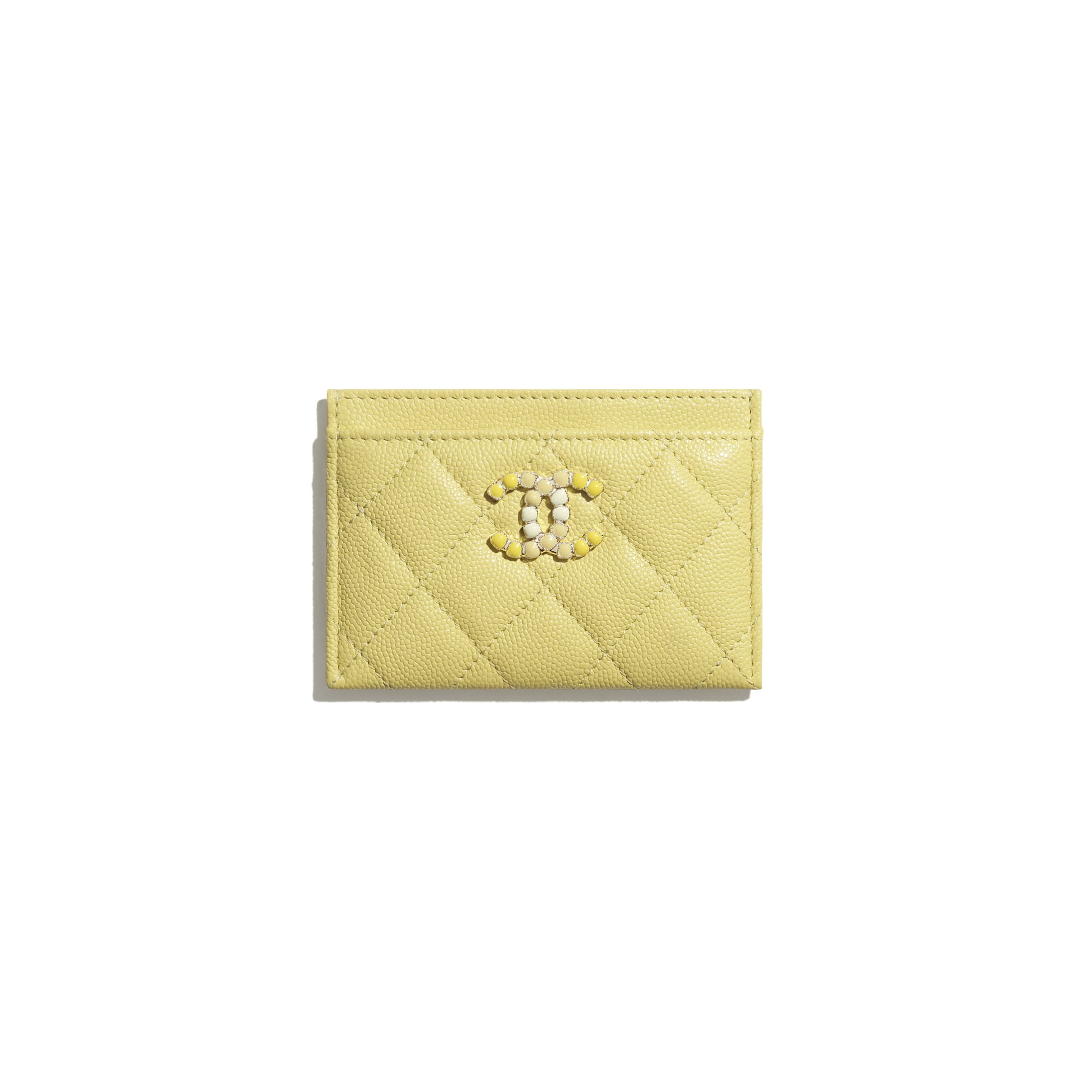 Card Holder - Yellow - Grained Calfskin & Laquered Gold-Tone Metal - CHANEL - Default view - see standard sized version