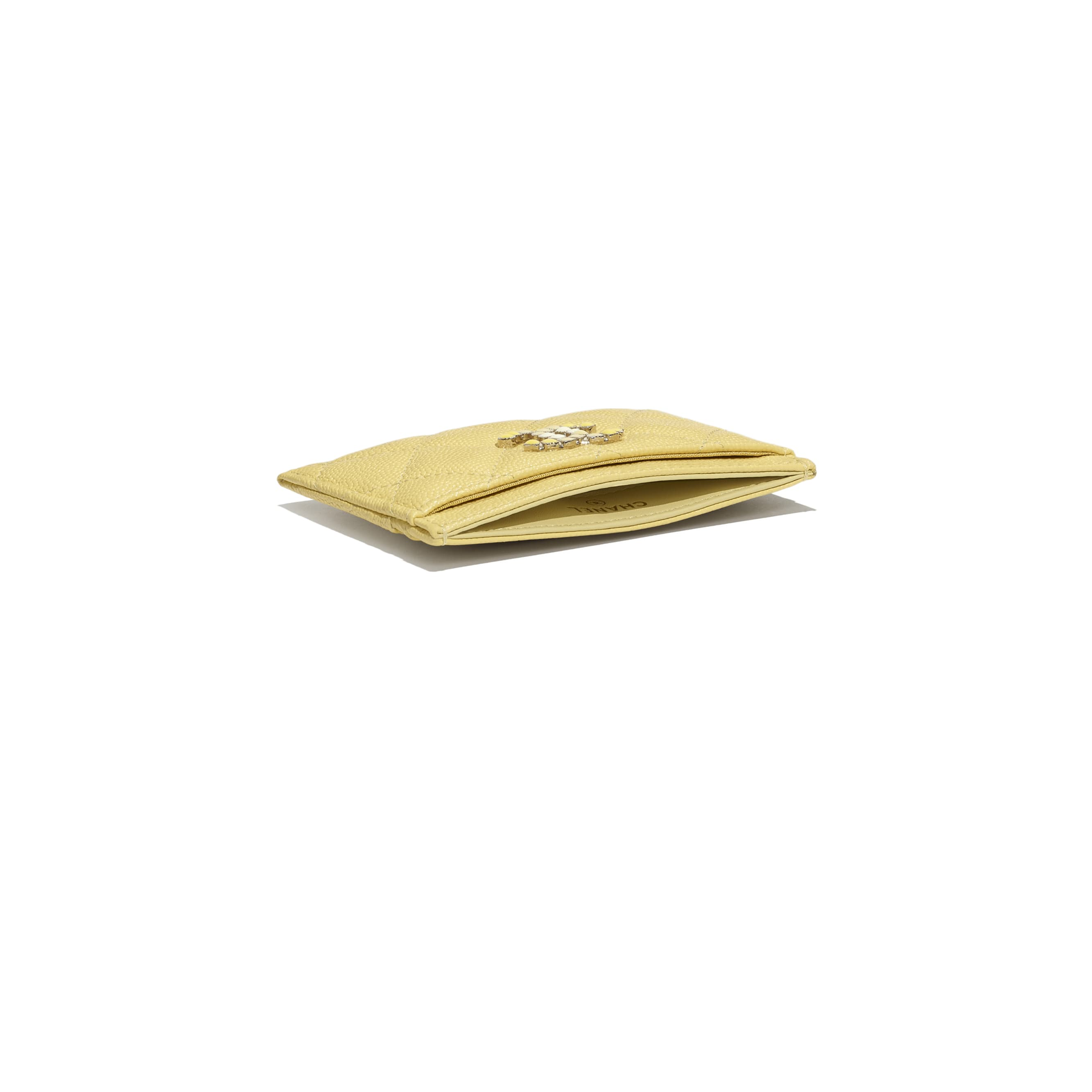 Card Holder - Yellow - Grained Calfskin & Laquered Gold-Tone Metal - CHANEL - Extra view - see standard sized version