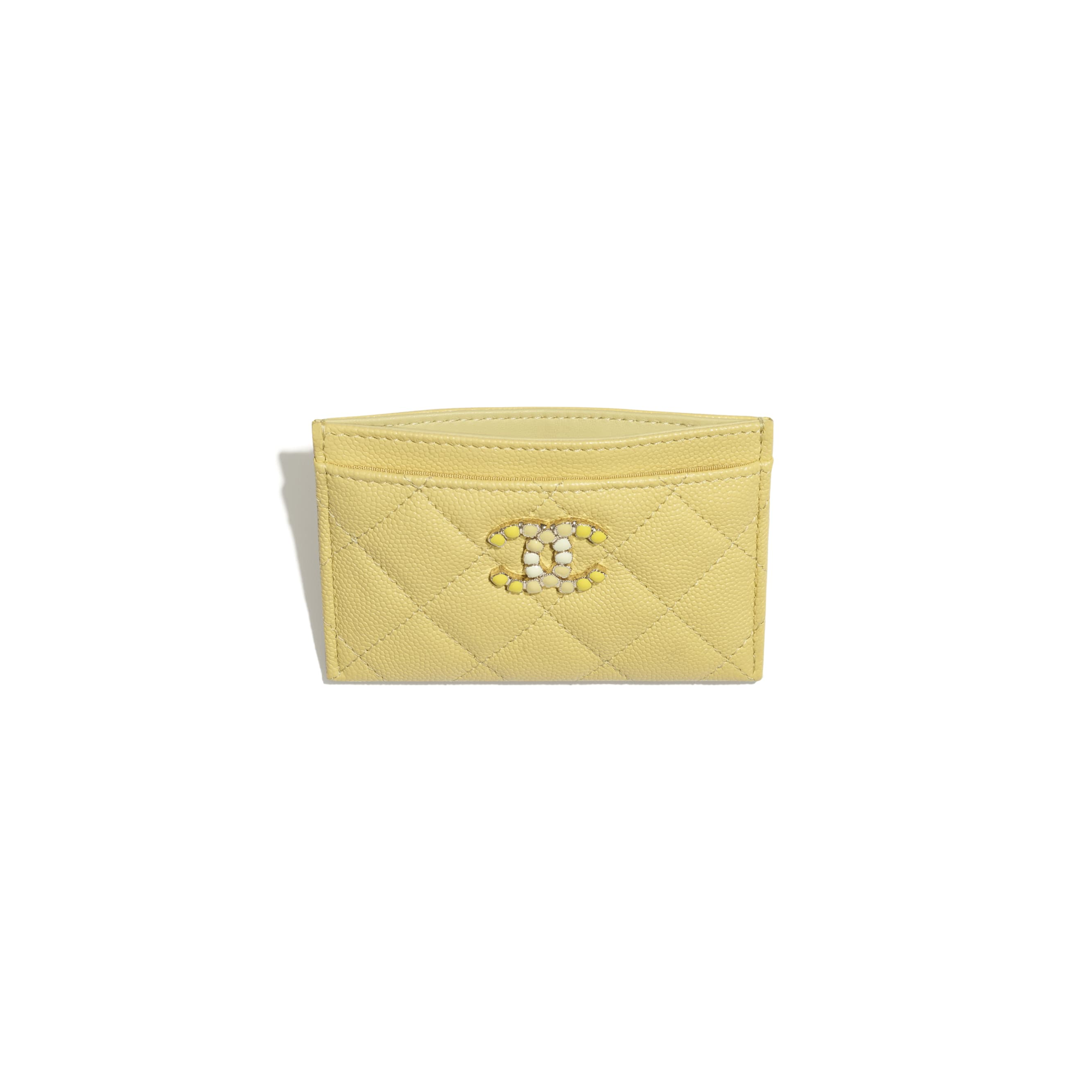 Card Holder - Yellow - Grained Calfskin & Laquered Gold-Tone Metal - CHANEL - Other view - see standard sized version