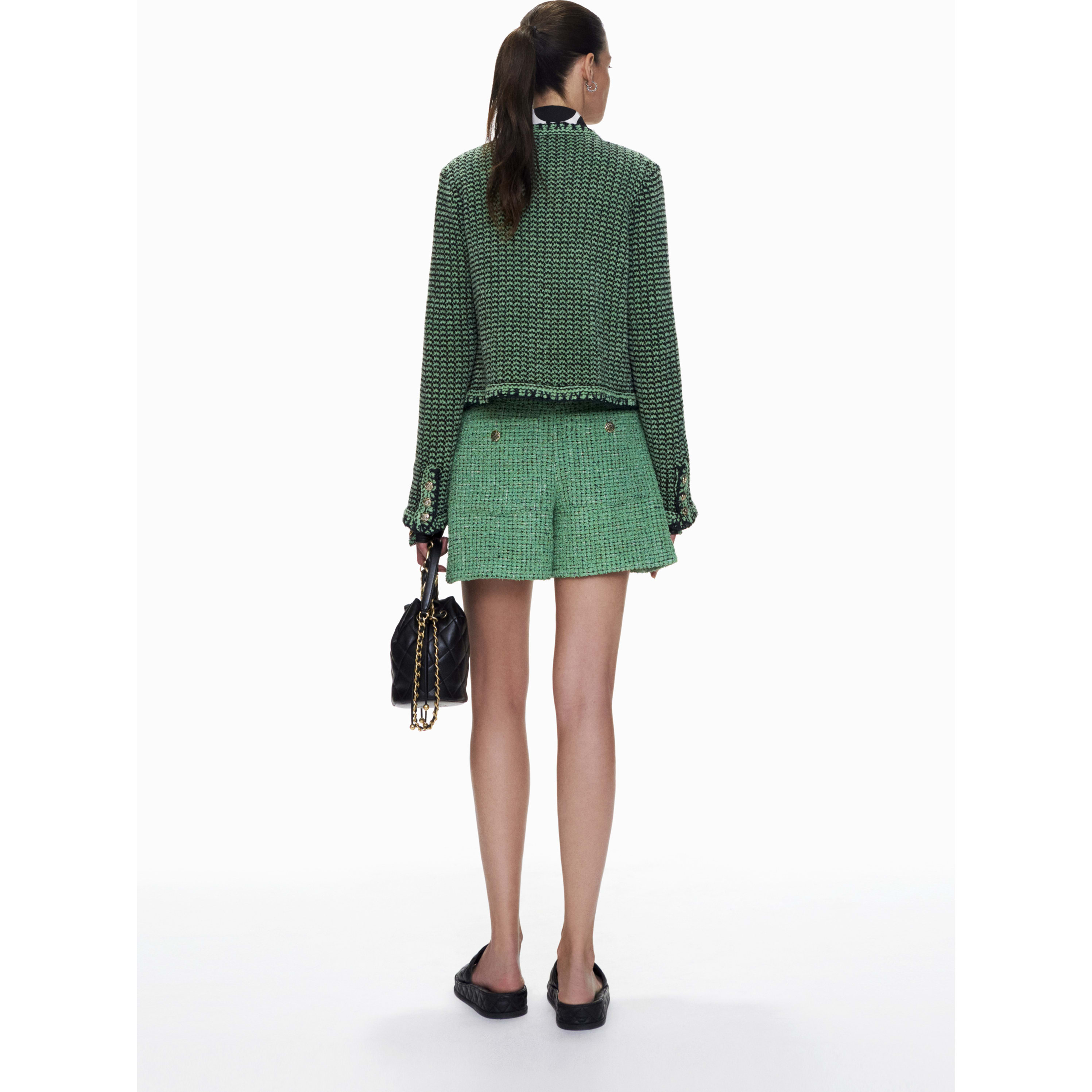 Cardigan - Green & Black - Cashmere & Cotton - CHANEL - Alternative view - see standard sized version
