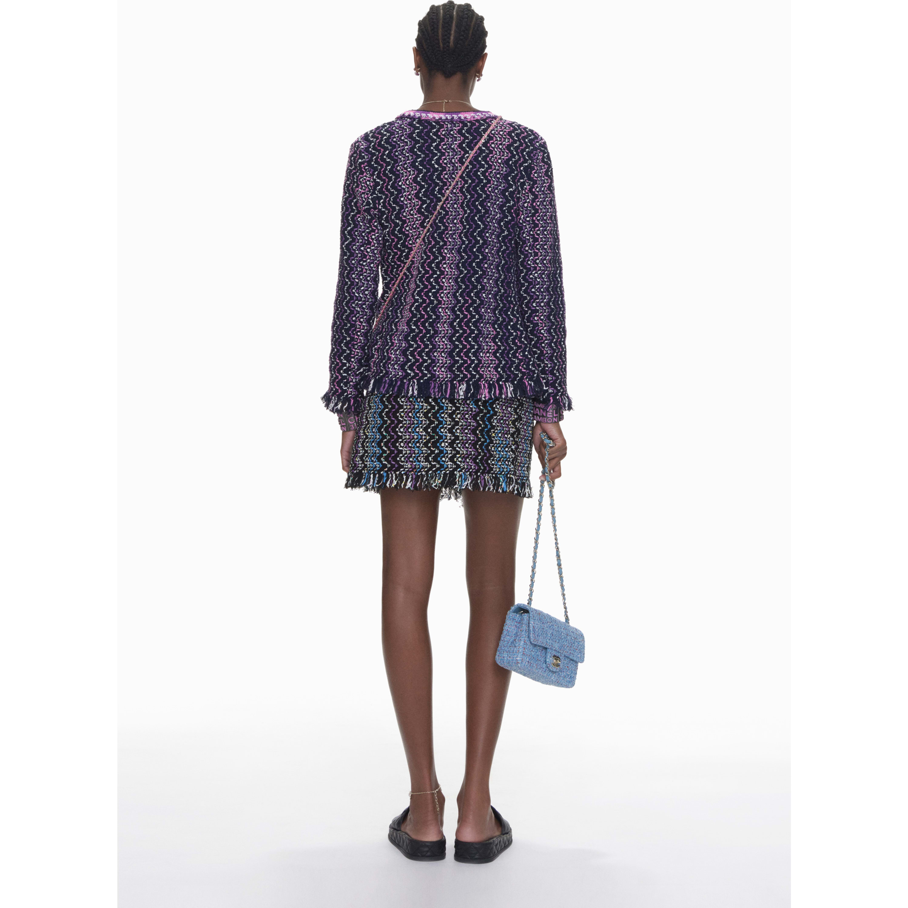 Cardigan - Navy Blue, Purple & Pink - Cotton & Mixed Fibers - CHANEL - Other view - see standard sized version