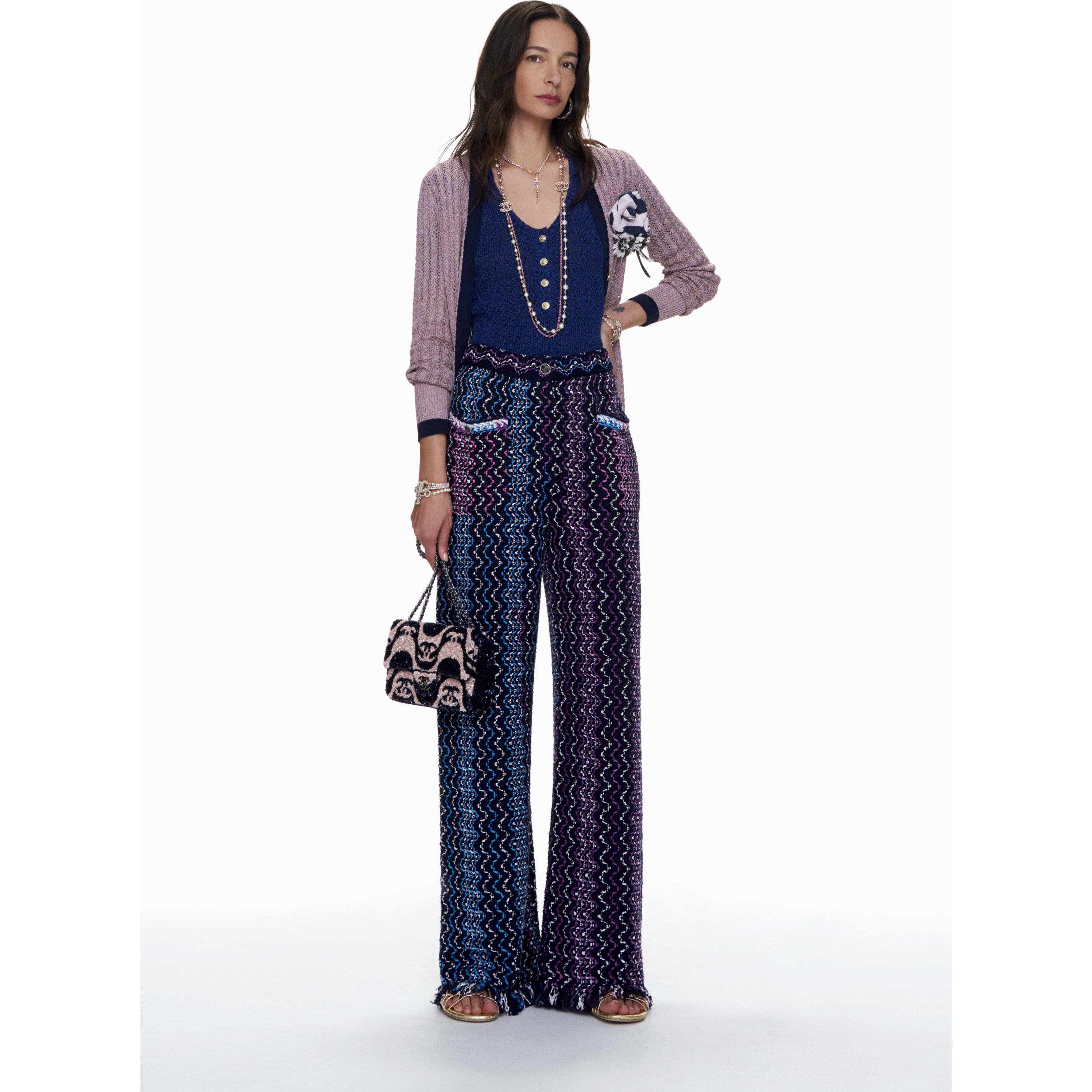Cardigan - Purple & Navy Blue - Silk - CHANEL - Default view - see standard sized version