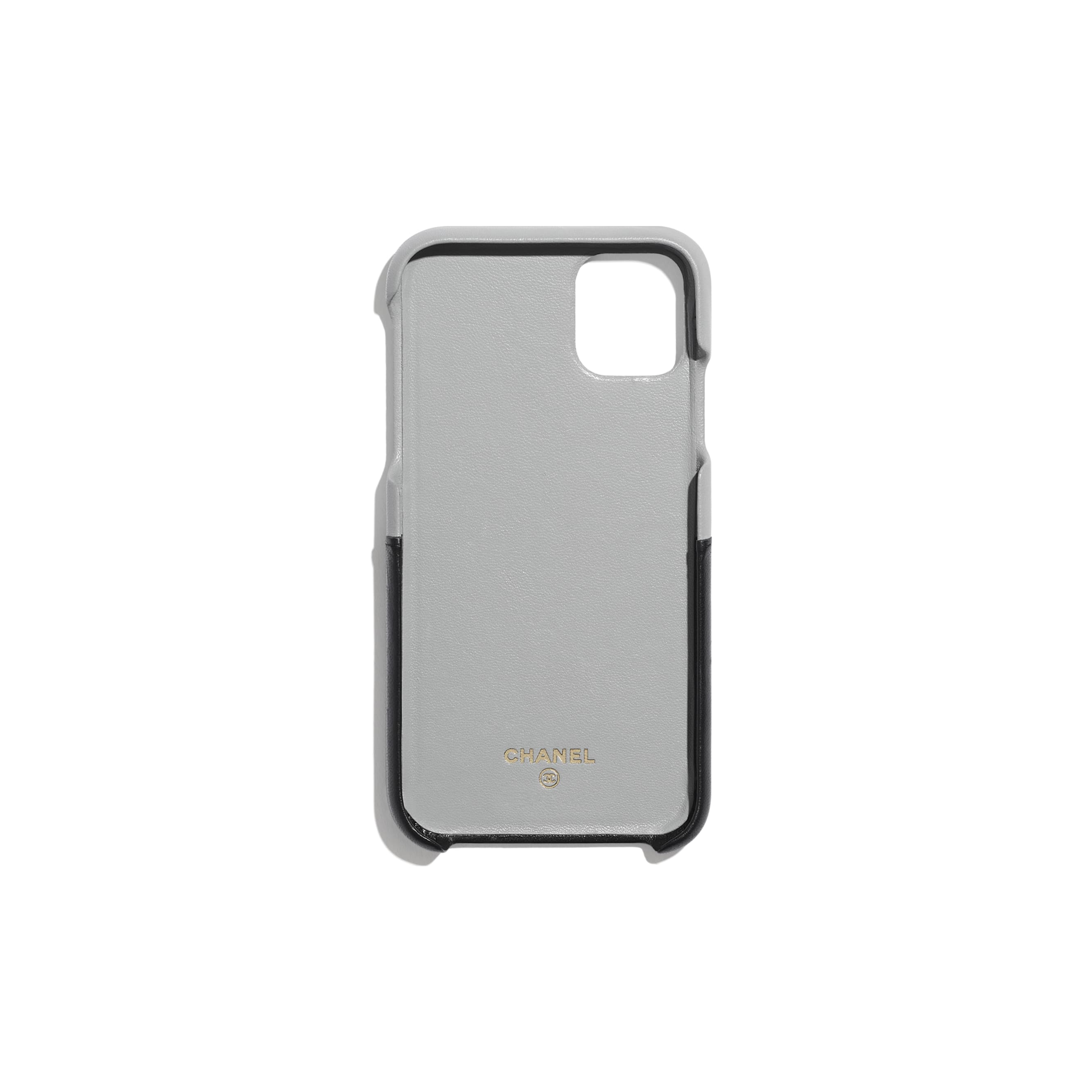 Case for iPhone XI - Grey & Black - Lambskin - CHANEL - Alternative view - see standard sized version