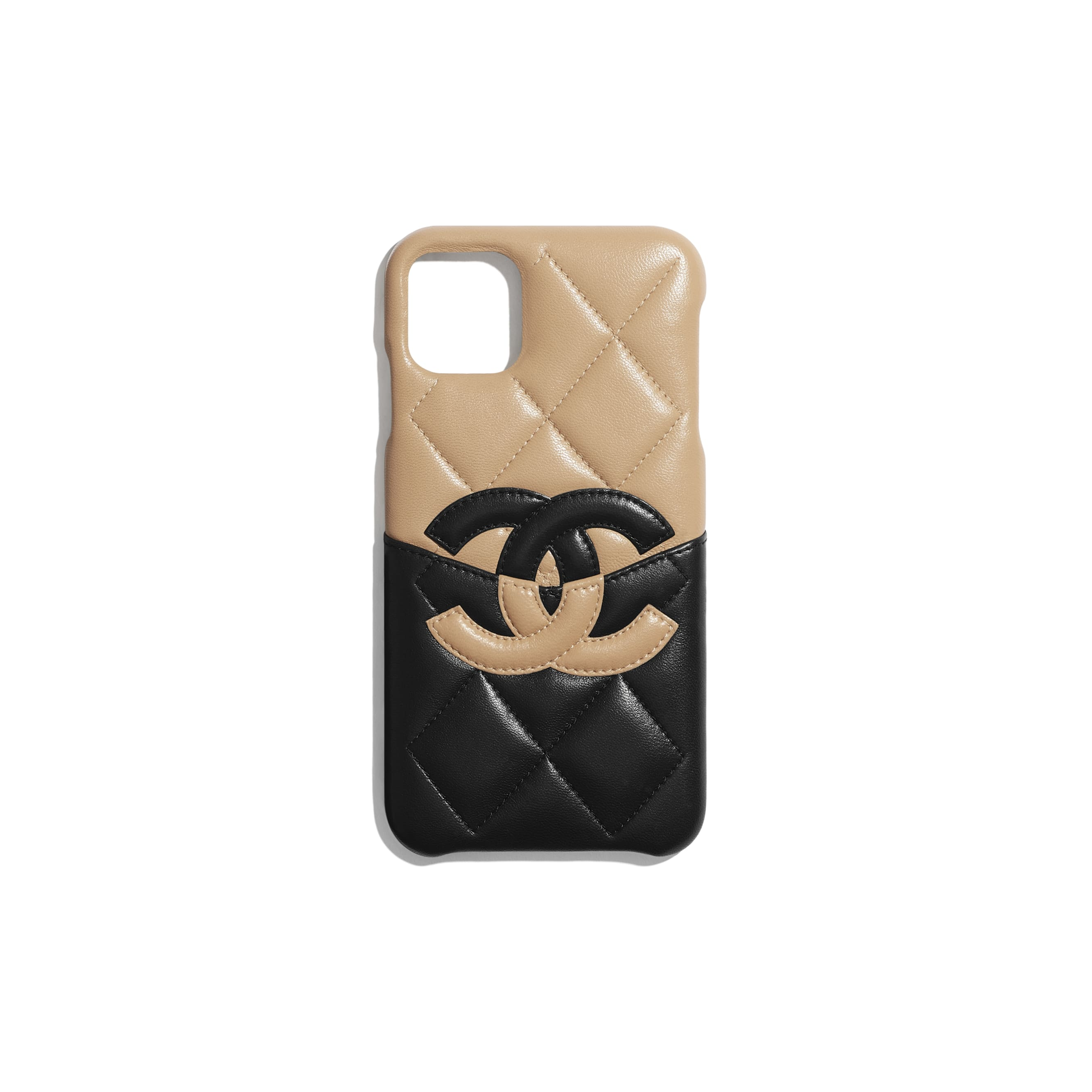 Case for iPhone XI Pro Max - Beige & Black - Lambskin - CHANEL - Default view - see standard sized version
