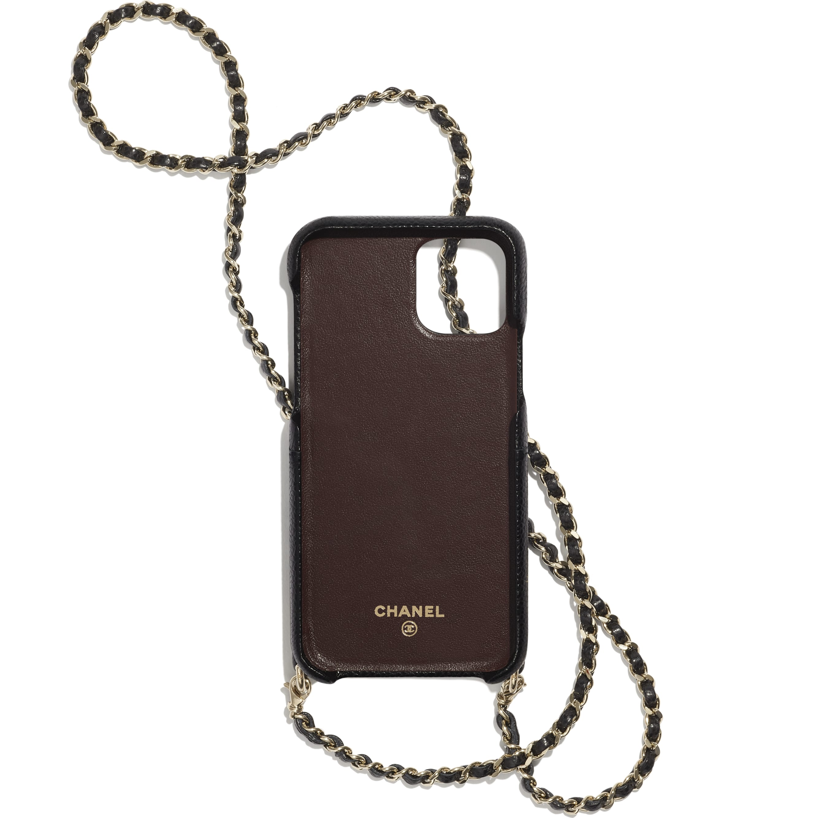 Case for iPhone XI Pro with Chain - Black - Grained Lambskin & Gold-Tone Metal - CHANEL - Alternative view - see standard sized version