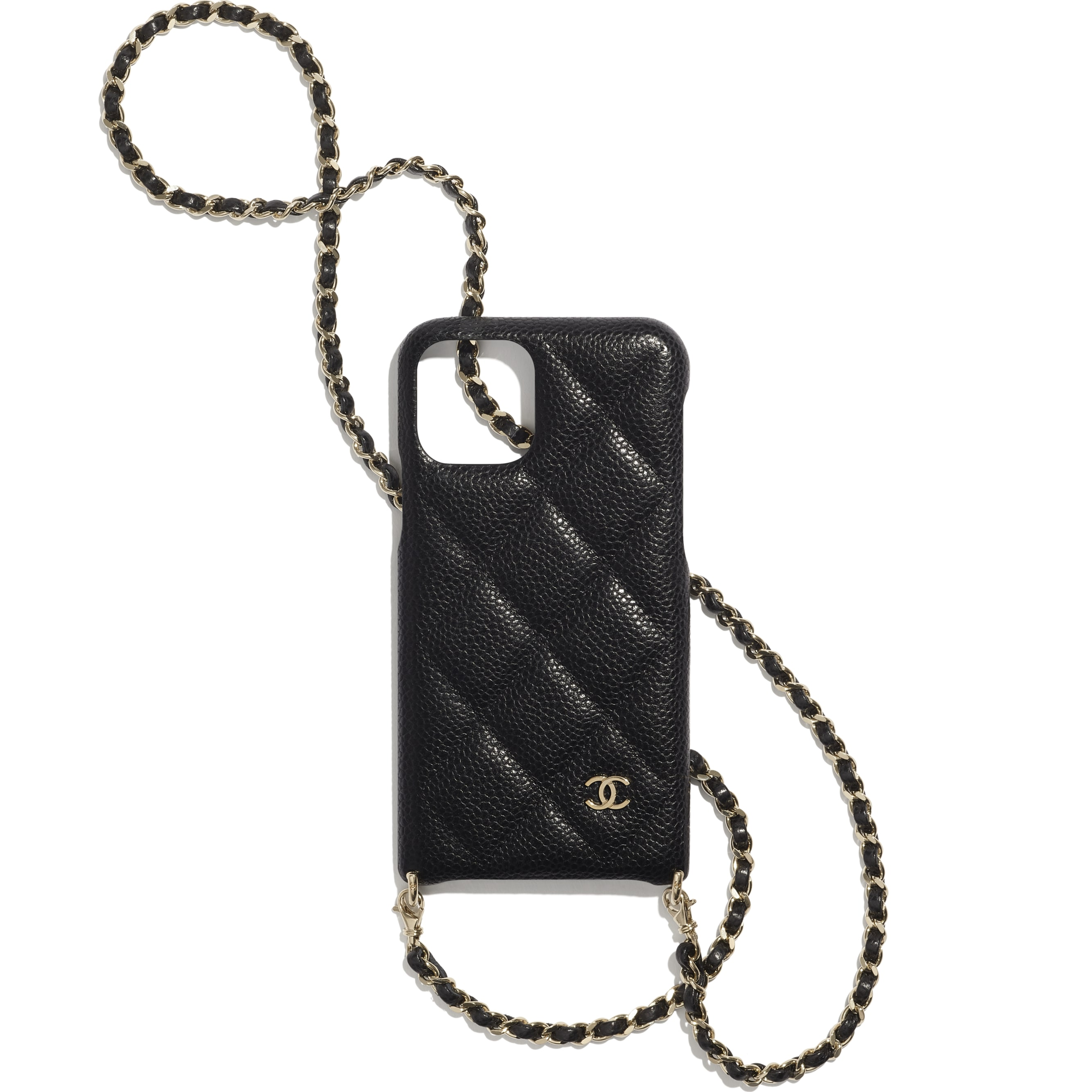 Case for iPhone XI Pro with Chain - Black - Grained Lambskin & Gold-Tone Metal - CHANEL - Default view - see standard sized version