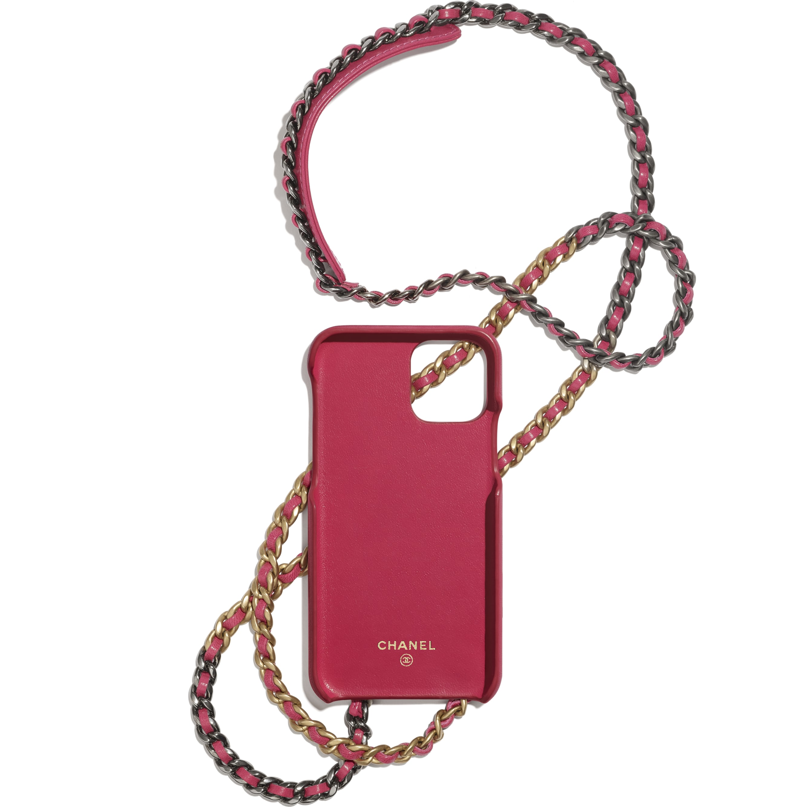 Case for iPhone XI Pro with Chain - Pink - Shiny Goatskin, Gold-Tone, Silver-Tone & Ruthenium-Finish Metal - CHANEL - Alternative view - see standard sized version