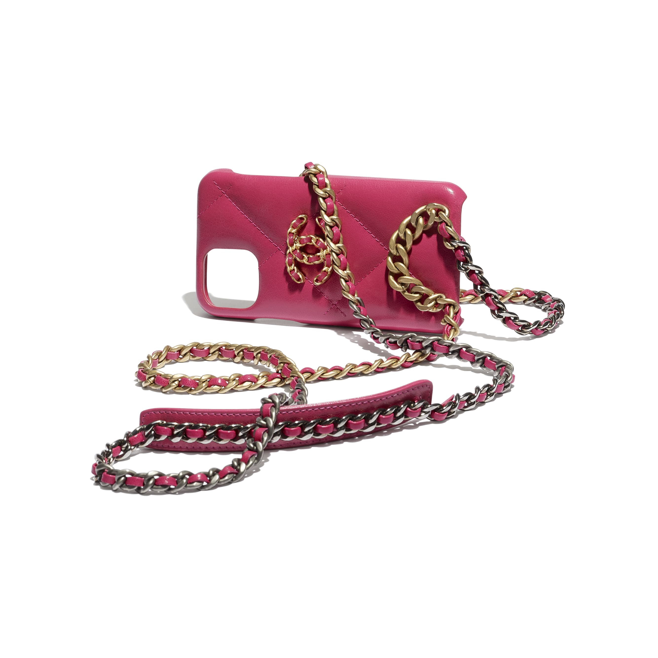 Case for iPhone XI Pro with Chain - Pink - Shiny Goatskin, Gold-Tone, Silver-Tone & Ruthenium-Finish Metal - CHANEL - Extra view - see standard sized version
