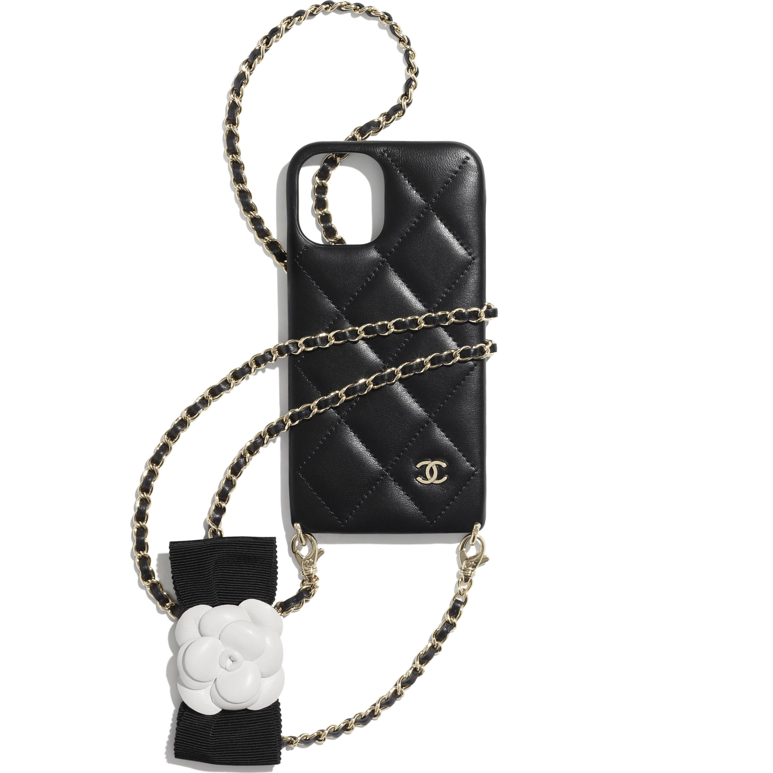 Case for iPhone XII Pro with Chain - Black - Lambskin - CHANEL - Default view - see standard sized version