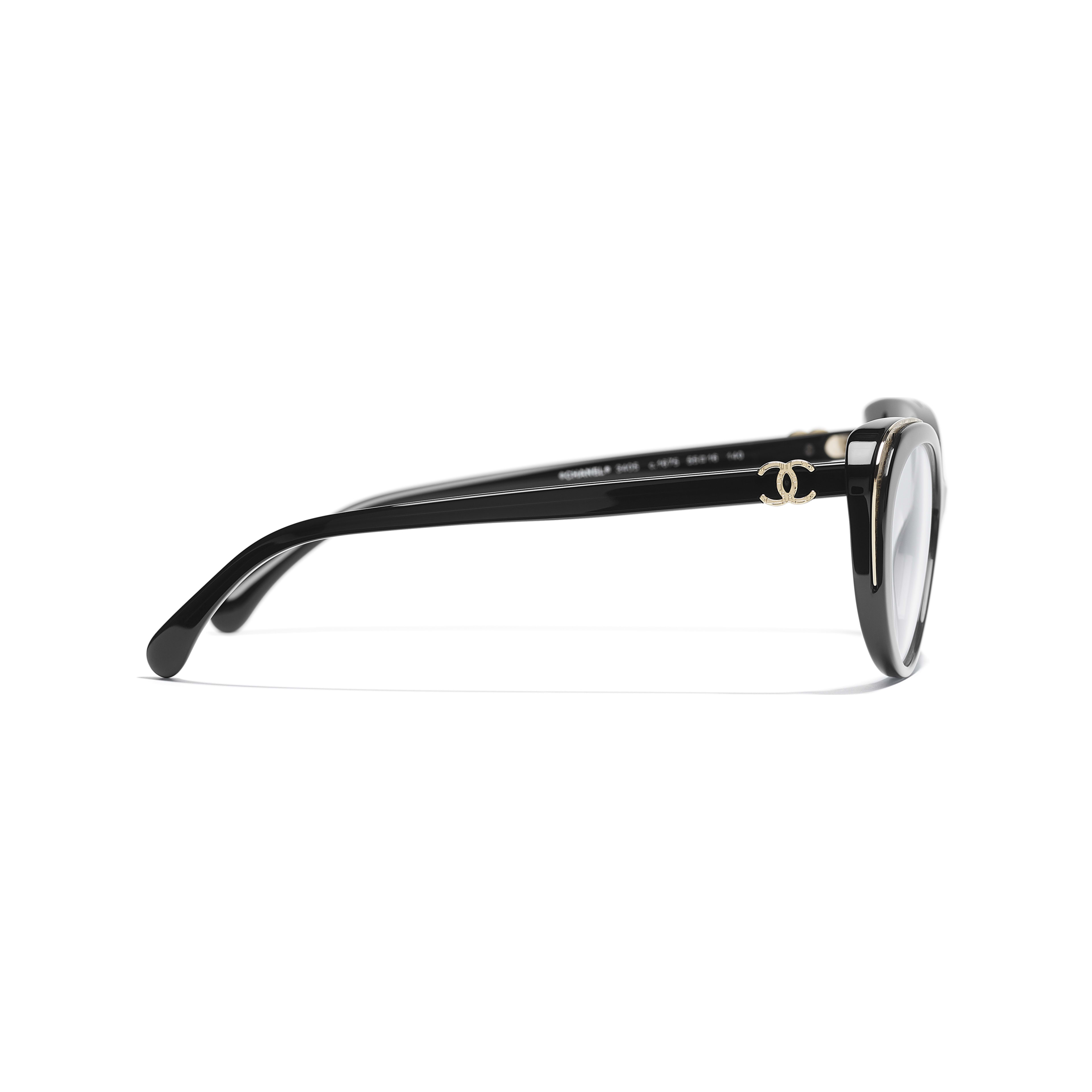 Cat Eye Eyeglasses - Black & Gold - Acetate & Metal - CHANEL - Other view - see standard sized version
