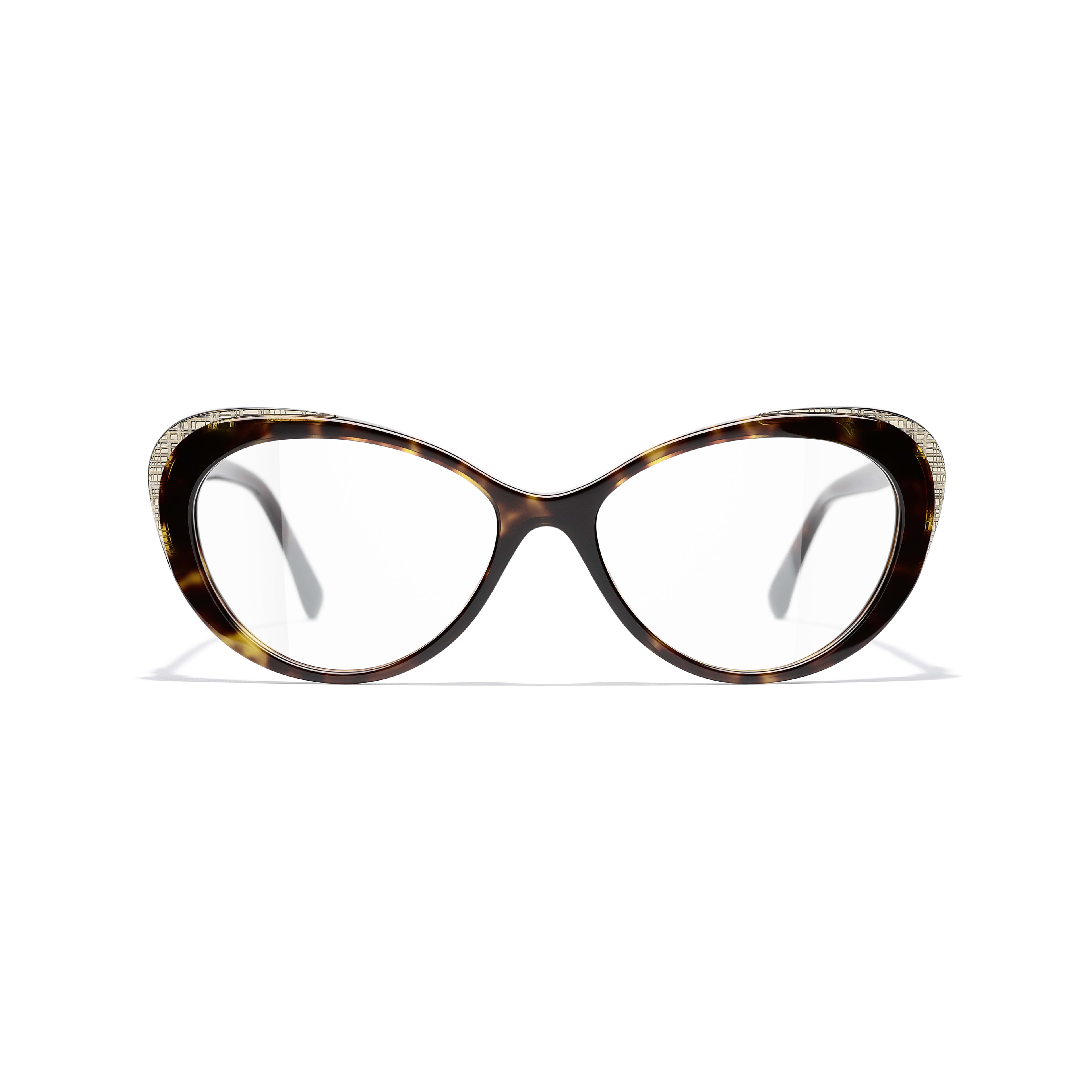 Cat Eye Eyeglasses - Dark Tortoise & Gold - Acetate & Metal - CHANEL - Alternative view - see standard sized version