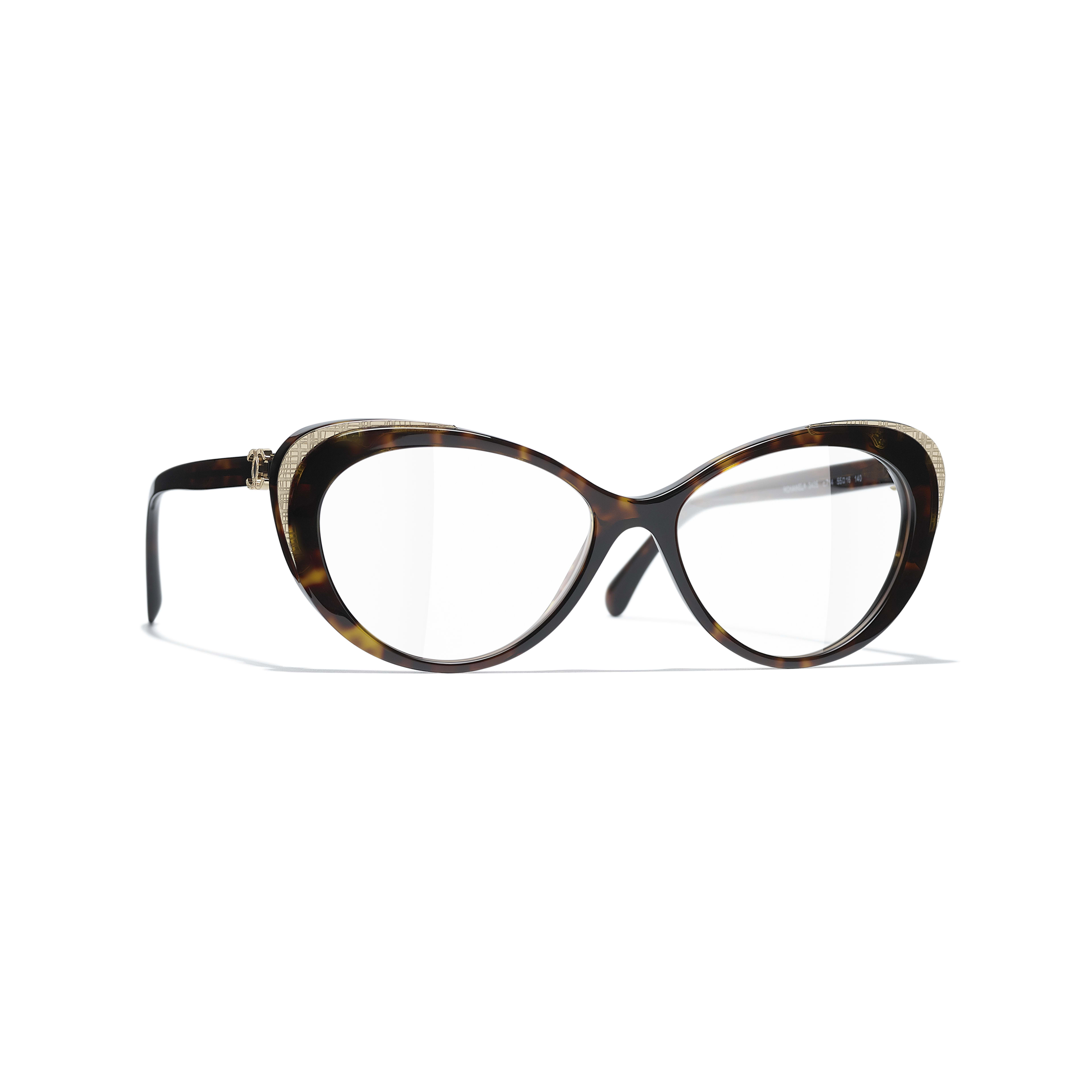 Cat Eye Eyeglasses - Dark Tortoise & Gold - Acetate & Metal - CHANEL - Default view - see standard sized version
