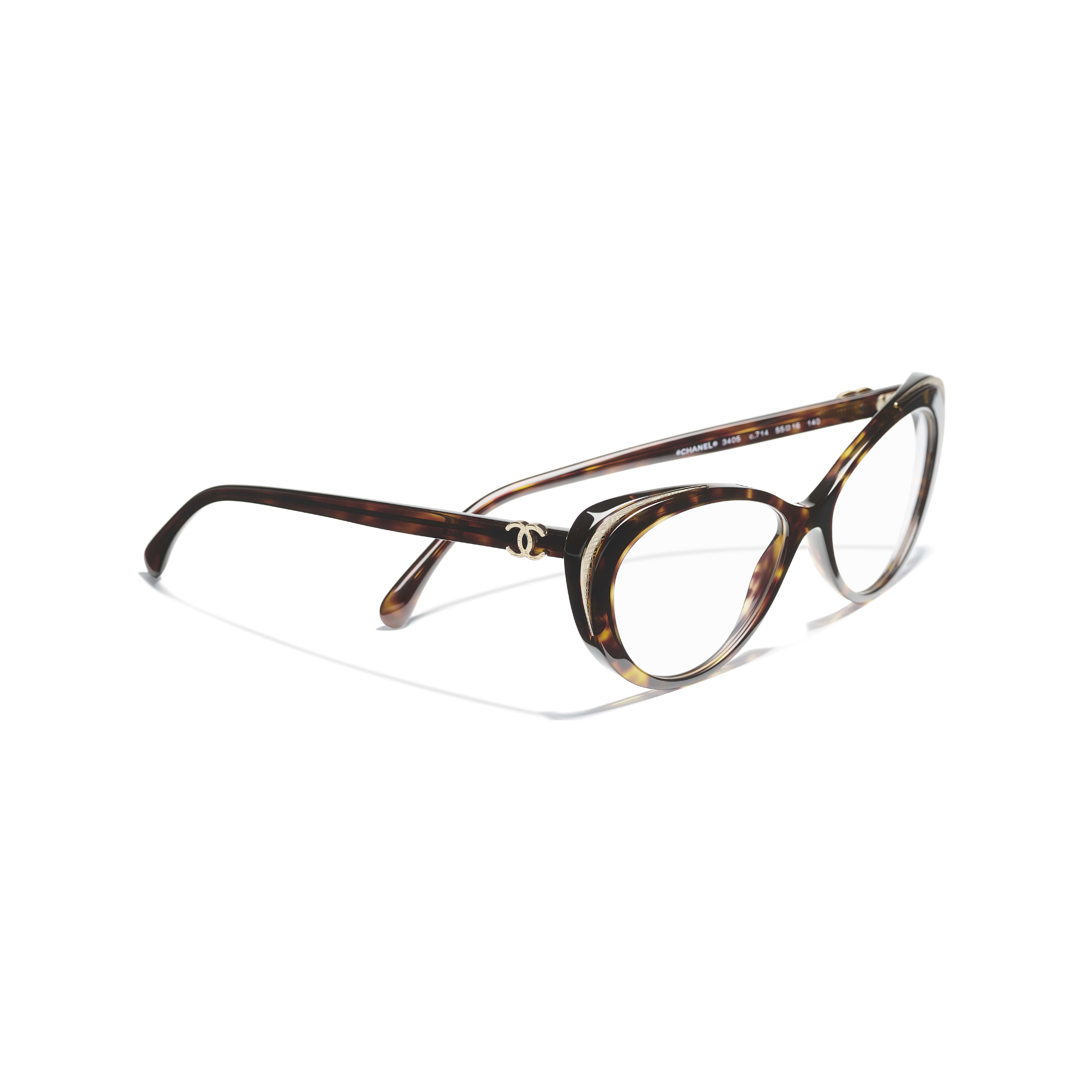Cat Eye Eyeglasses - Dark Tortoise & Gold - Acetate & Metal - CHANEL - Extra view - see standard sized version