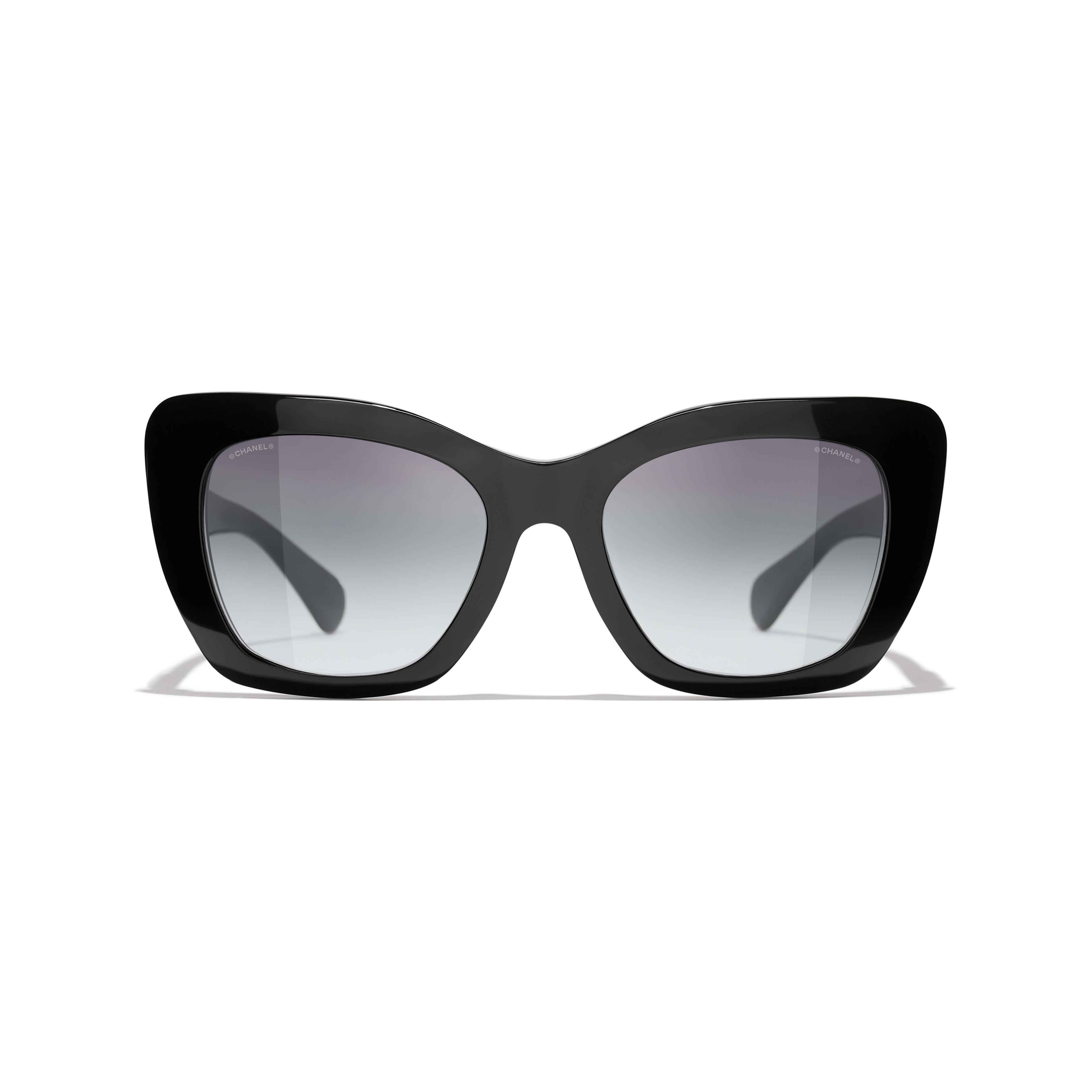 Óculos de sol com formato felino - Preto - Acetato - CHANEL - Vista alternativa - ver a versão em tamanho standard