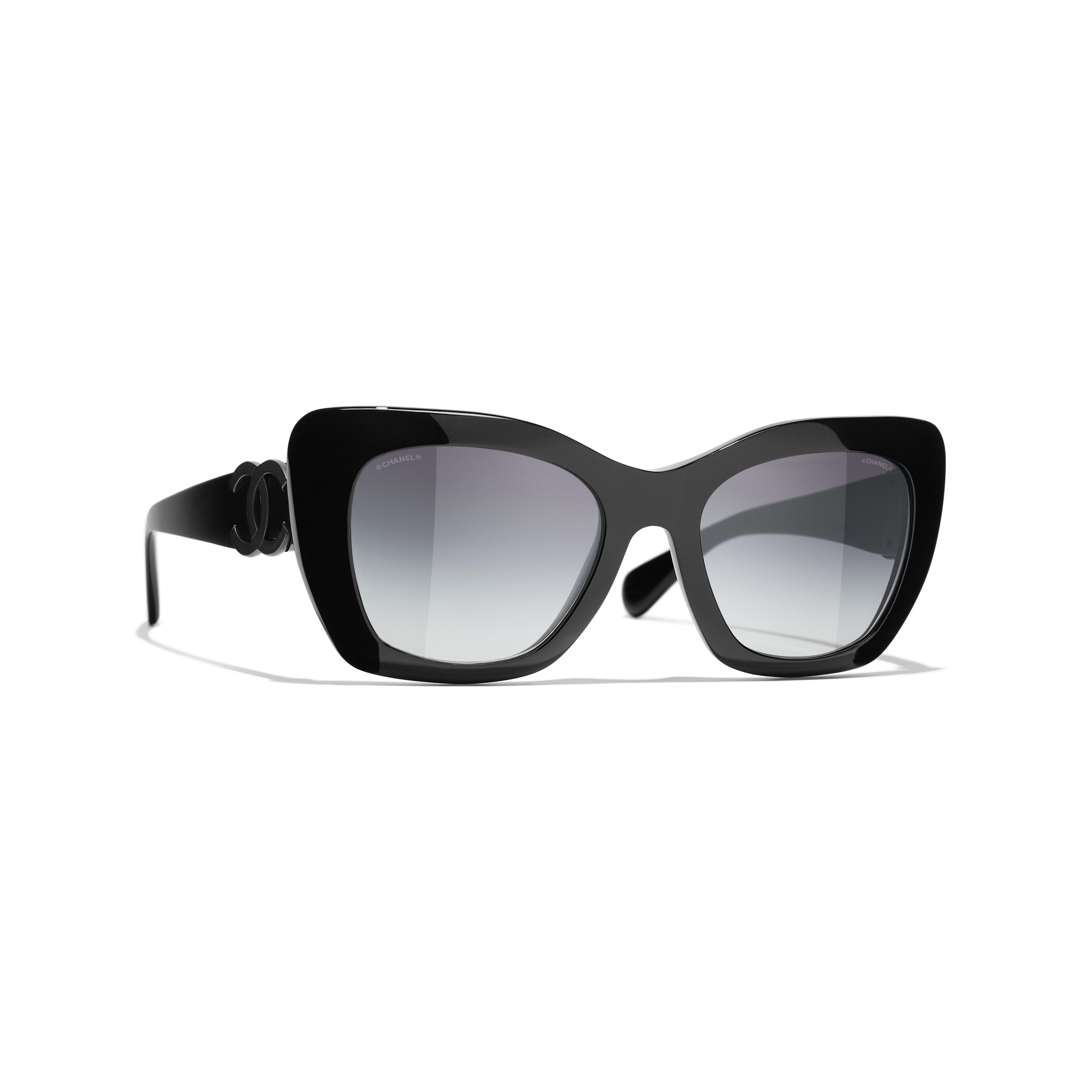 Óculos de sol com formato felino - Preto - Acetato - CHANEL - Vista predefinida - ver a versão em tamanho standard