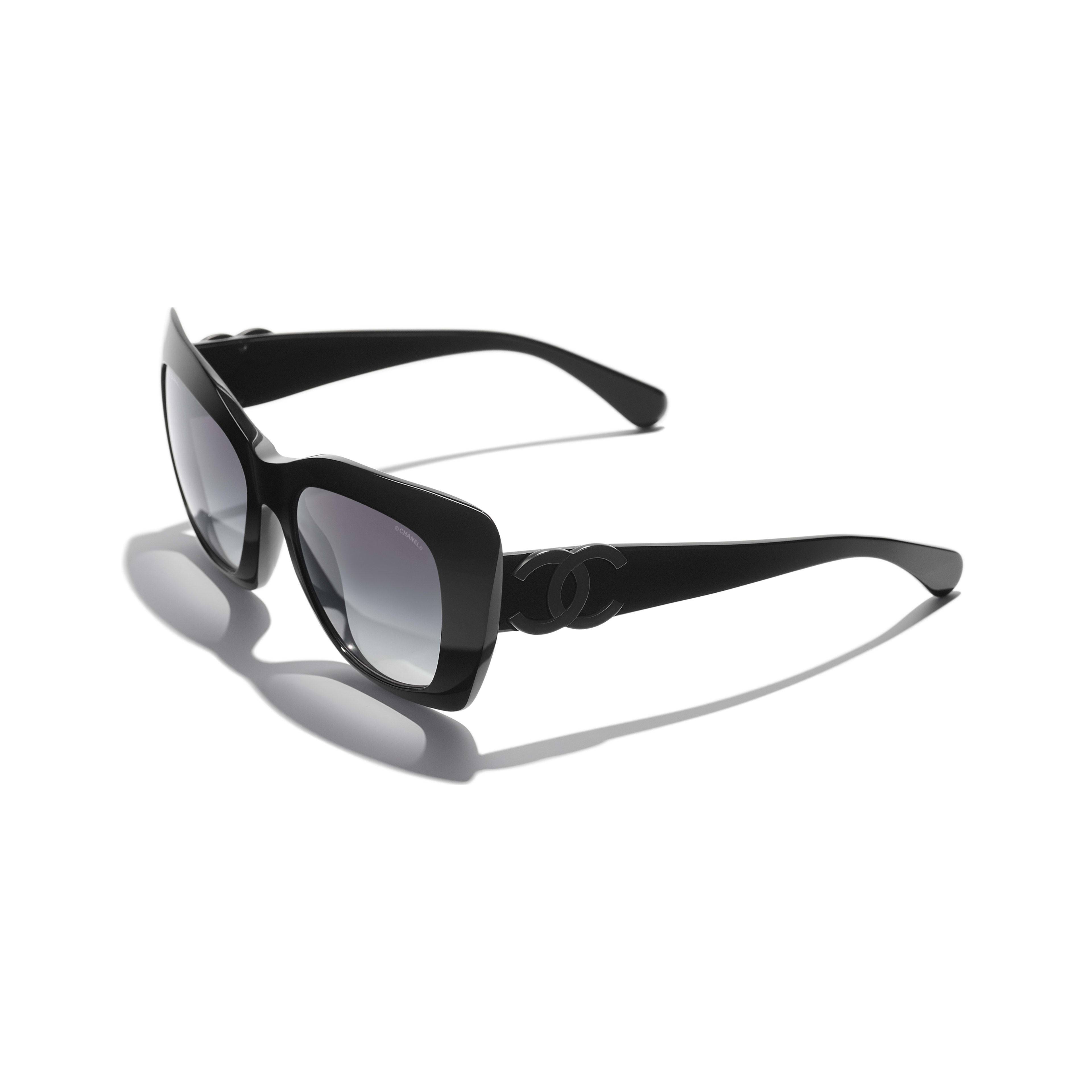 Óculos de sol com formato felino - Preto - Acetato - CHANEL - Vista extra - ver a versão em tamanho standard