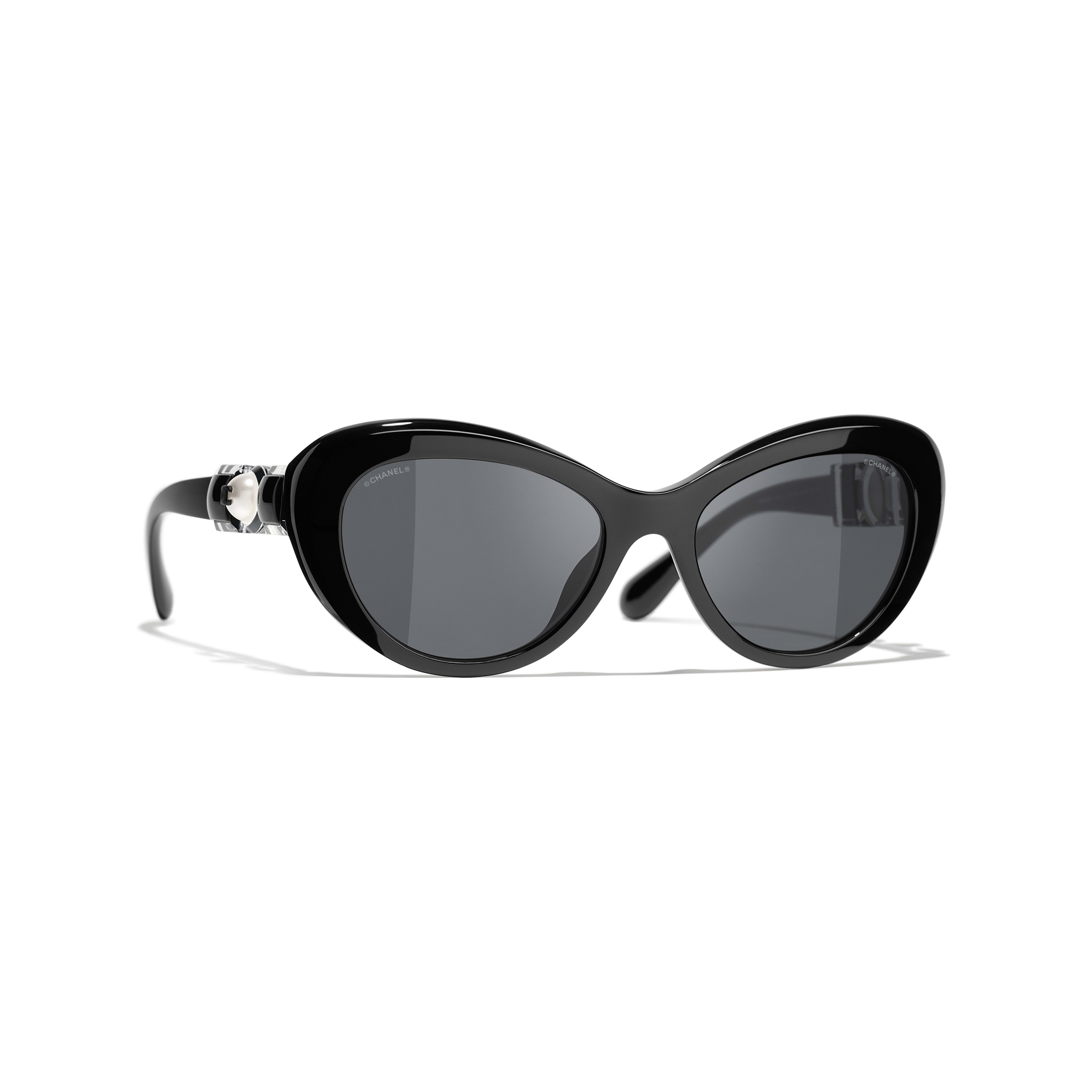 Cat Eye Sunglasses - Black - Acetate & Glass Pearls - CHANEL - Default view - see standard sized version