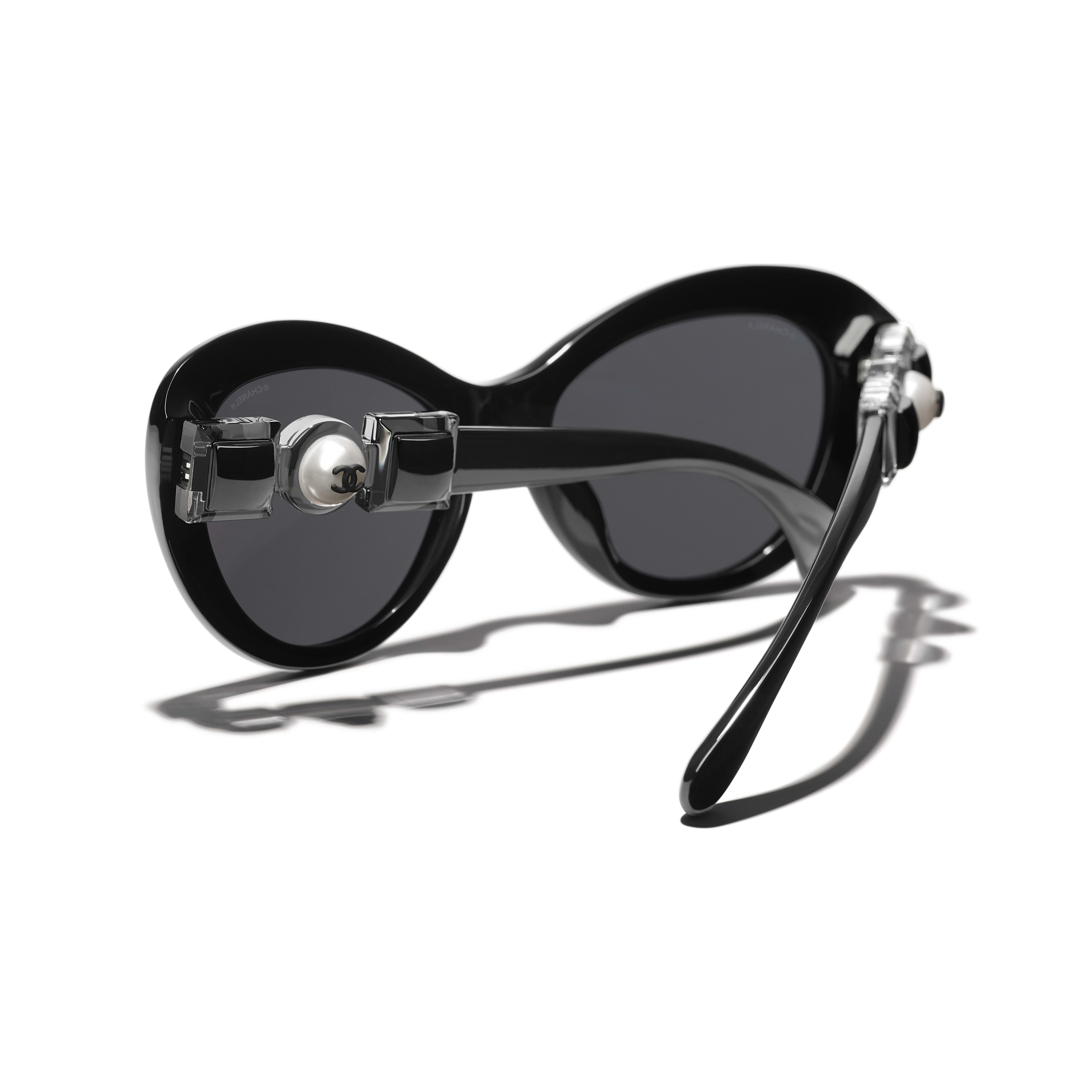 Cat Eye Sunglasses - Black - Acetate & Glass Pearls - CHANEL - Extra view - see standard sized version