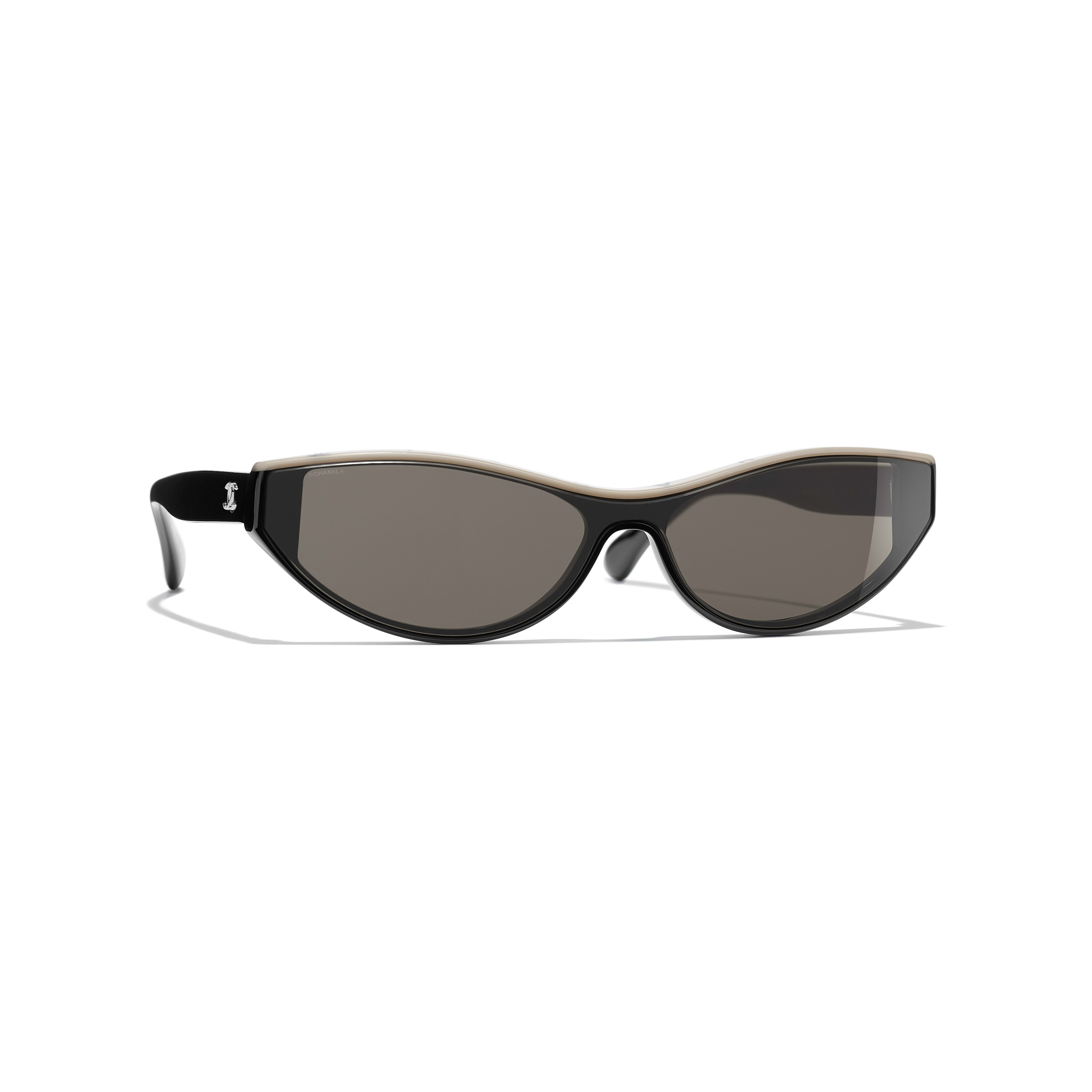 Cat Eye Sunglasses - Black & Beige - Acetate - CHANEL - Default view - see standard sized version