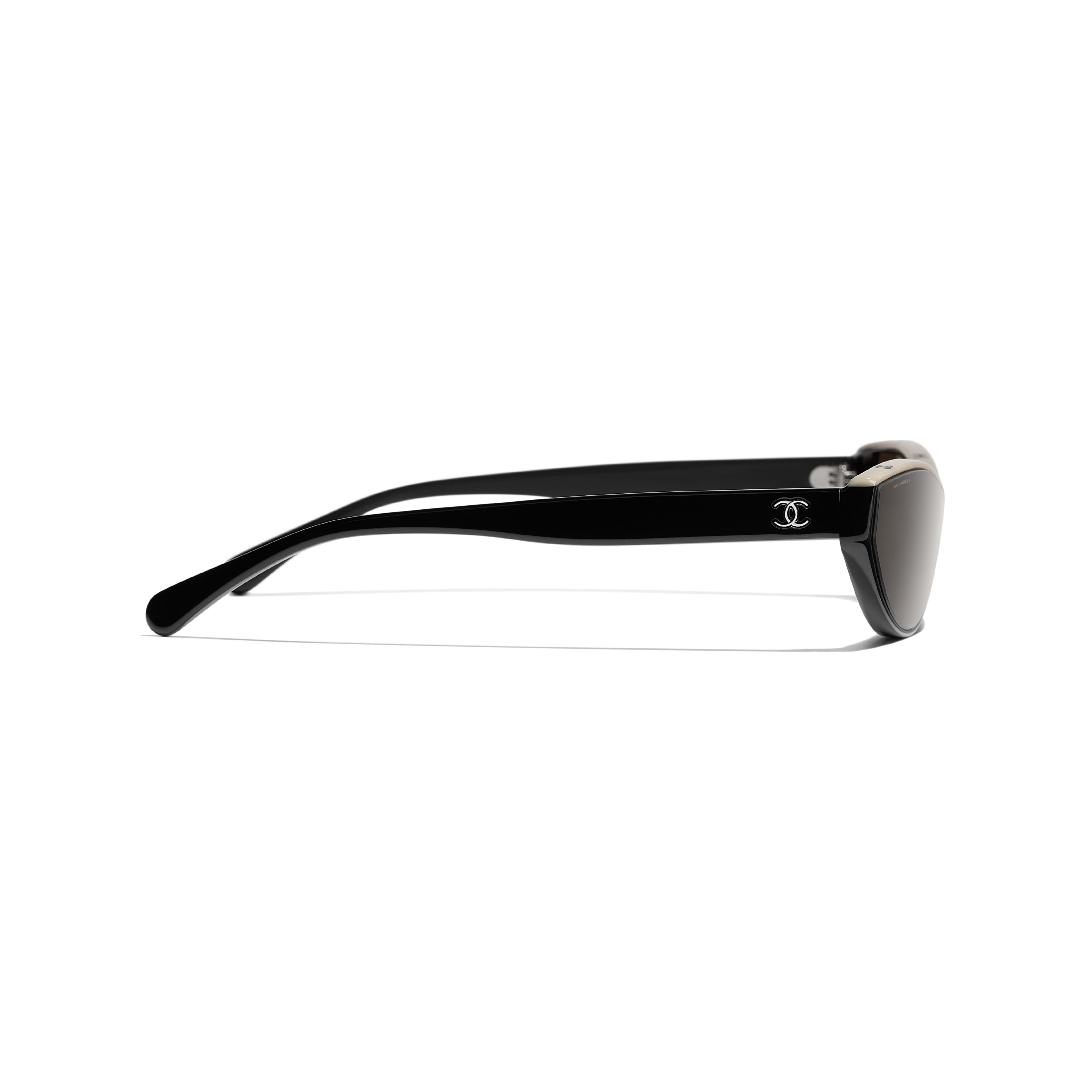 Cat Eye Sunglasses - Black & Beige - Acetate - CHANEL - Other view - see standard sized version