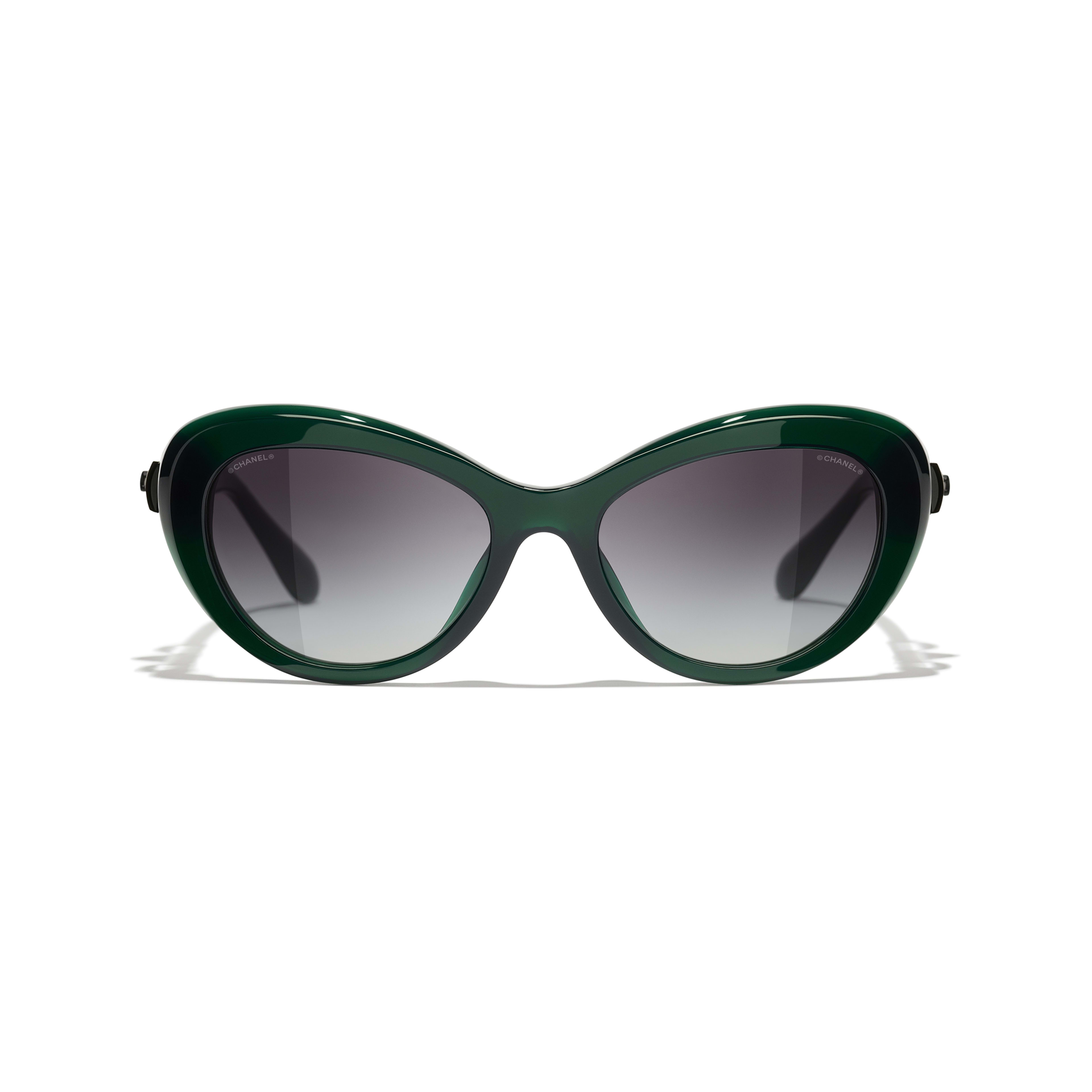 Cat Eye Sunglasses - Dark Green - Acetate & Glass Pearls - CHANEL - Alternative view - see standard sized version