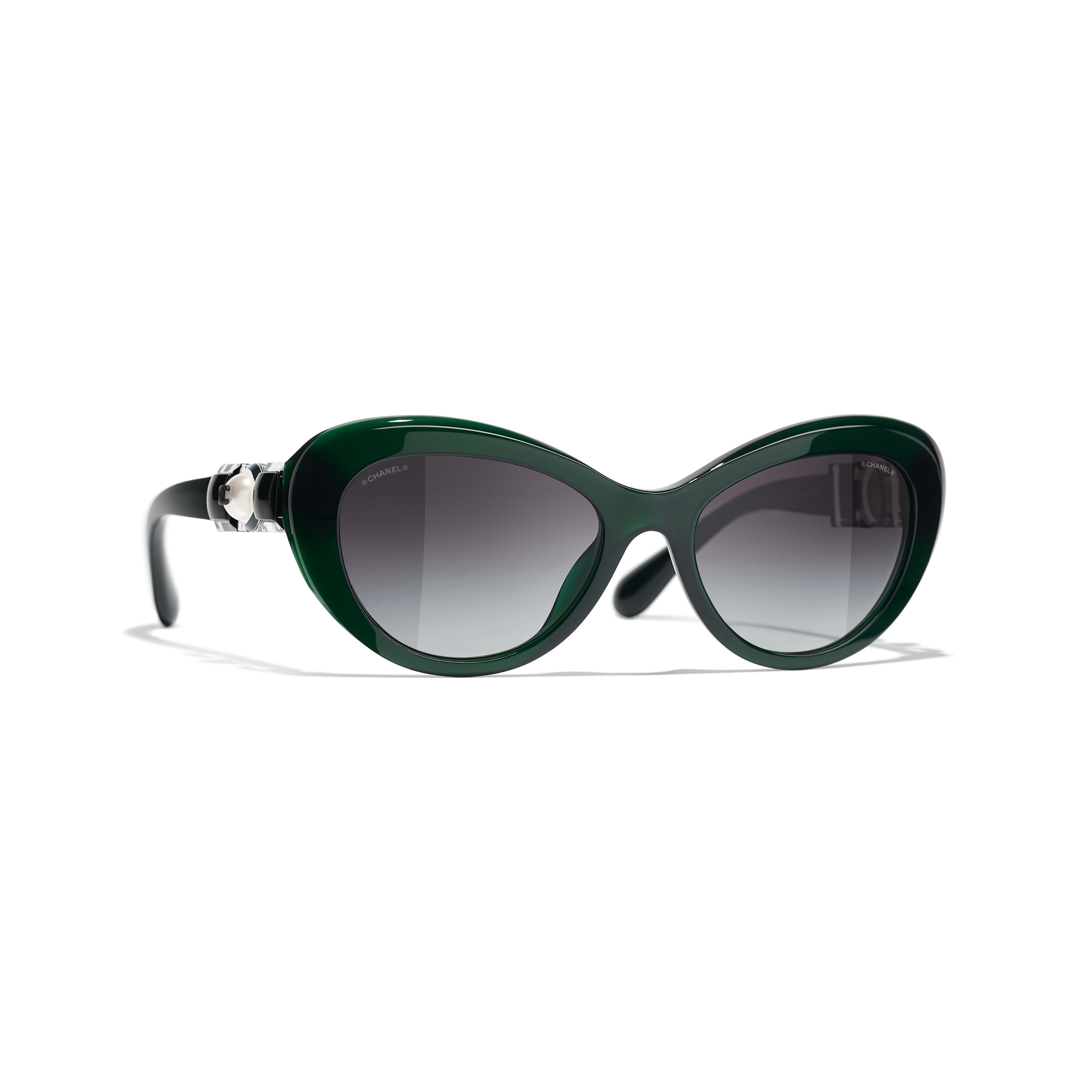 Cat Eye Sunglasses - Dark Green - Acetate & Glass Pearls - CHANEL - Default view - see standard sized version