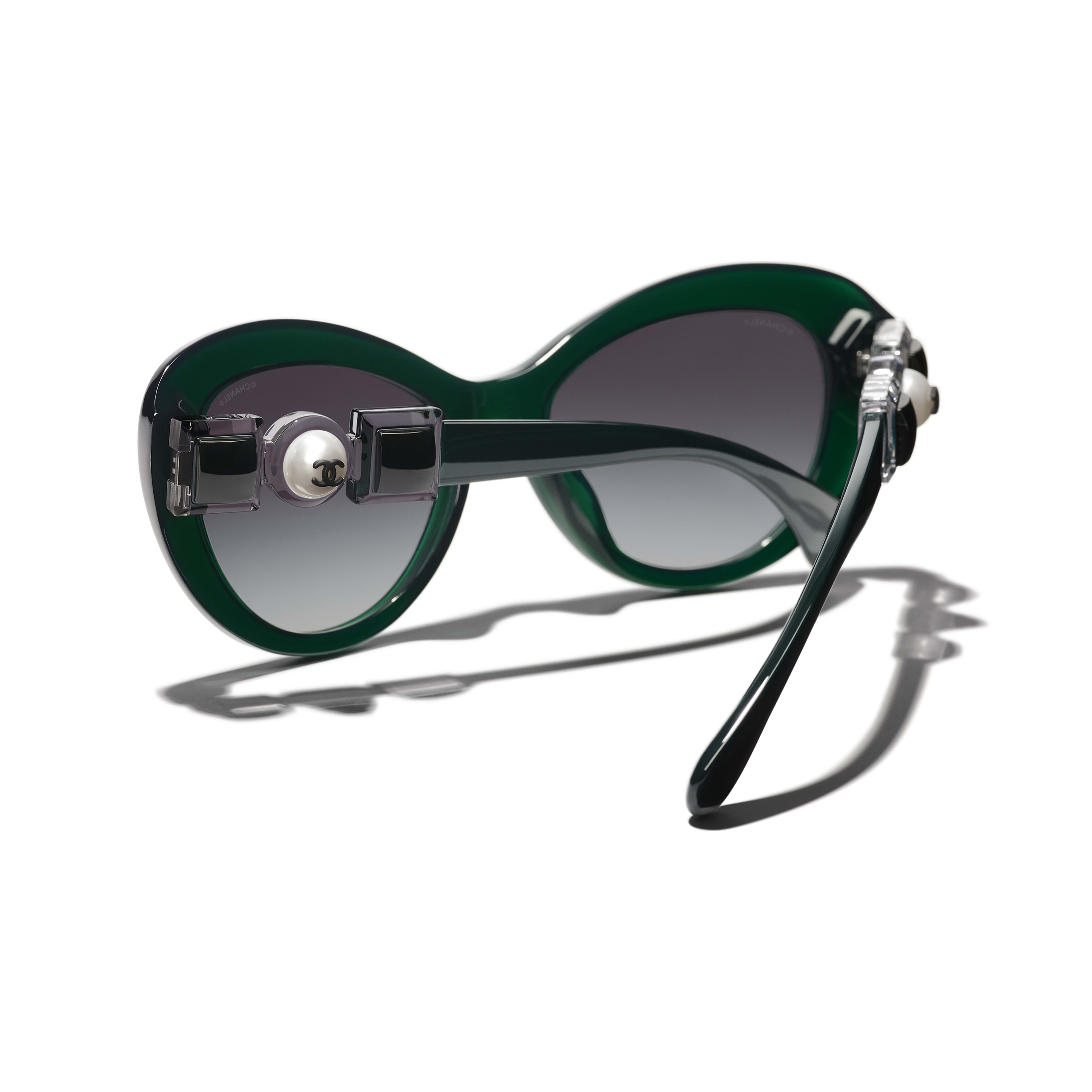 Cat Eye Sunglasses - Dark Green - Acetate & Glass Pearls - CHANEL - Extra view - see standard sized version