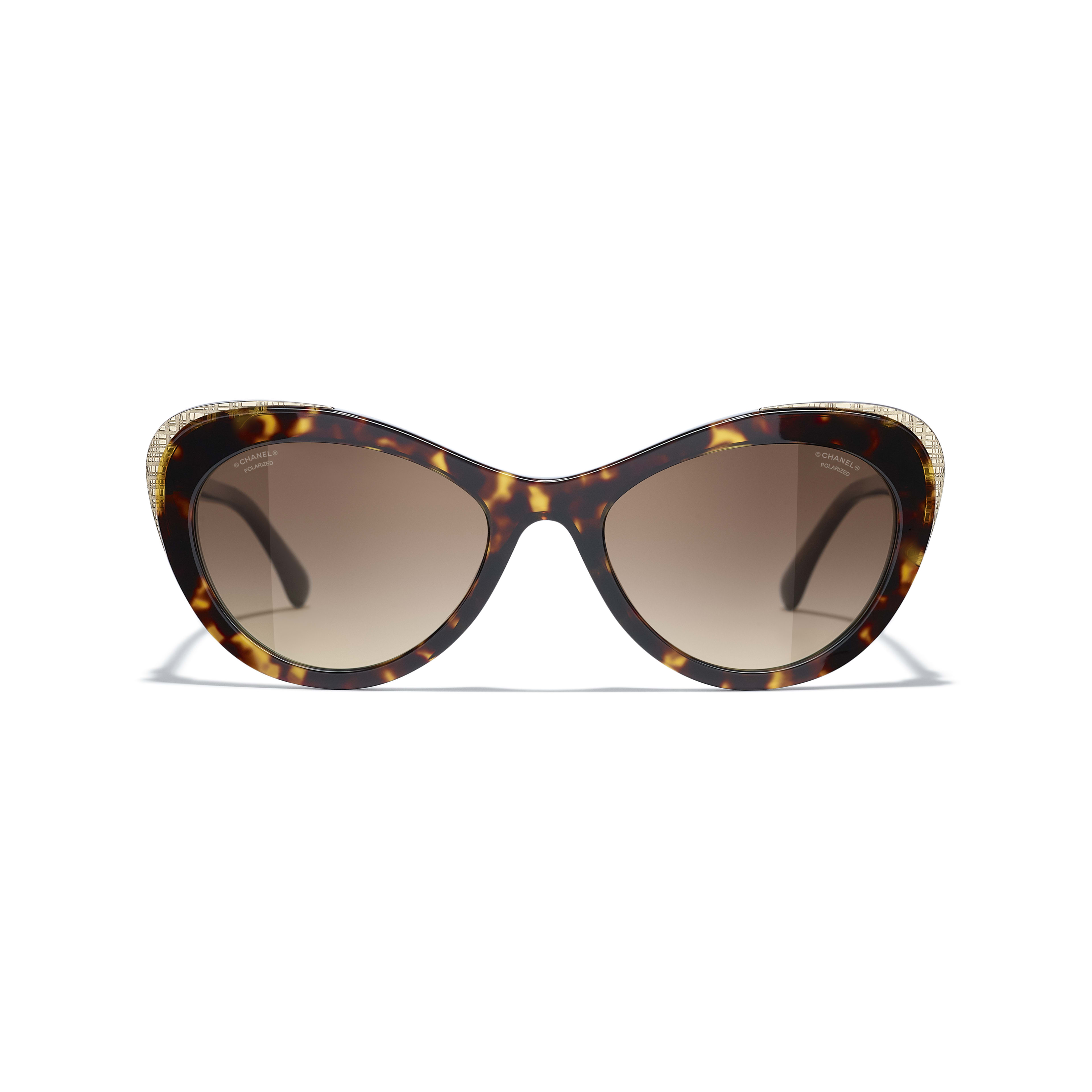 Cat Eye Sunglasses - Dark Tortoise & Gold - Acetate & Metal - CHANEL - Alternative view - see standard sized version