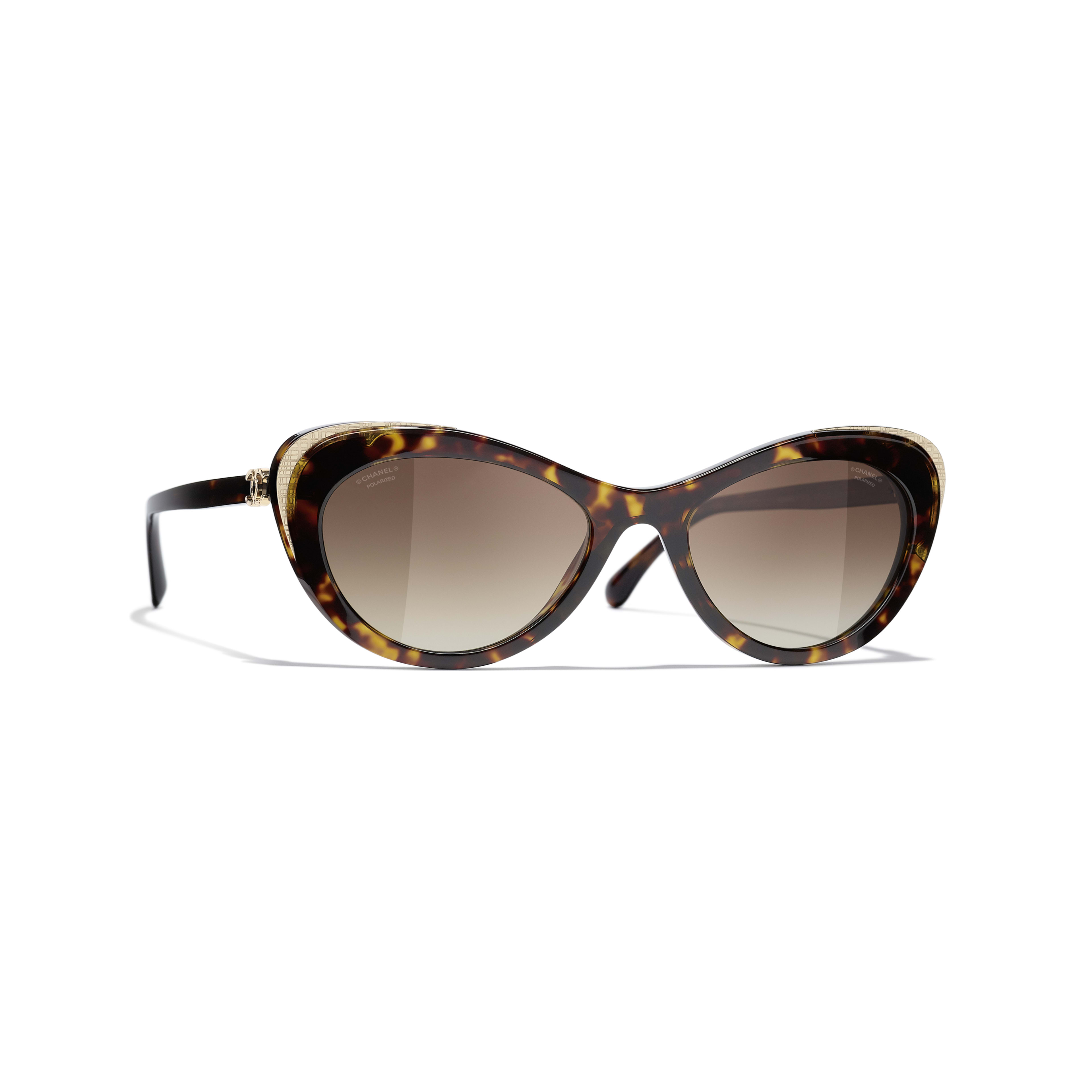 Cat Eye Sunglasses - Dark Tortoise & Gold - Acetate & Metal - CHANEL - Default view - see standard sized version