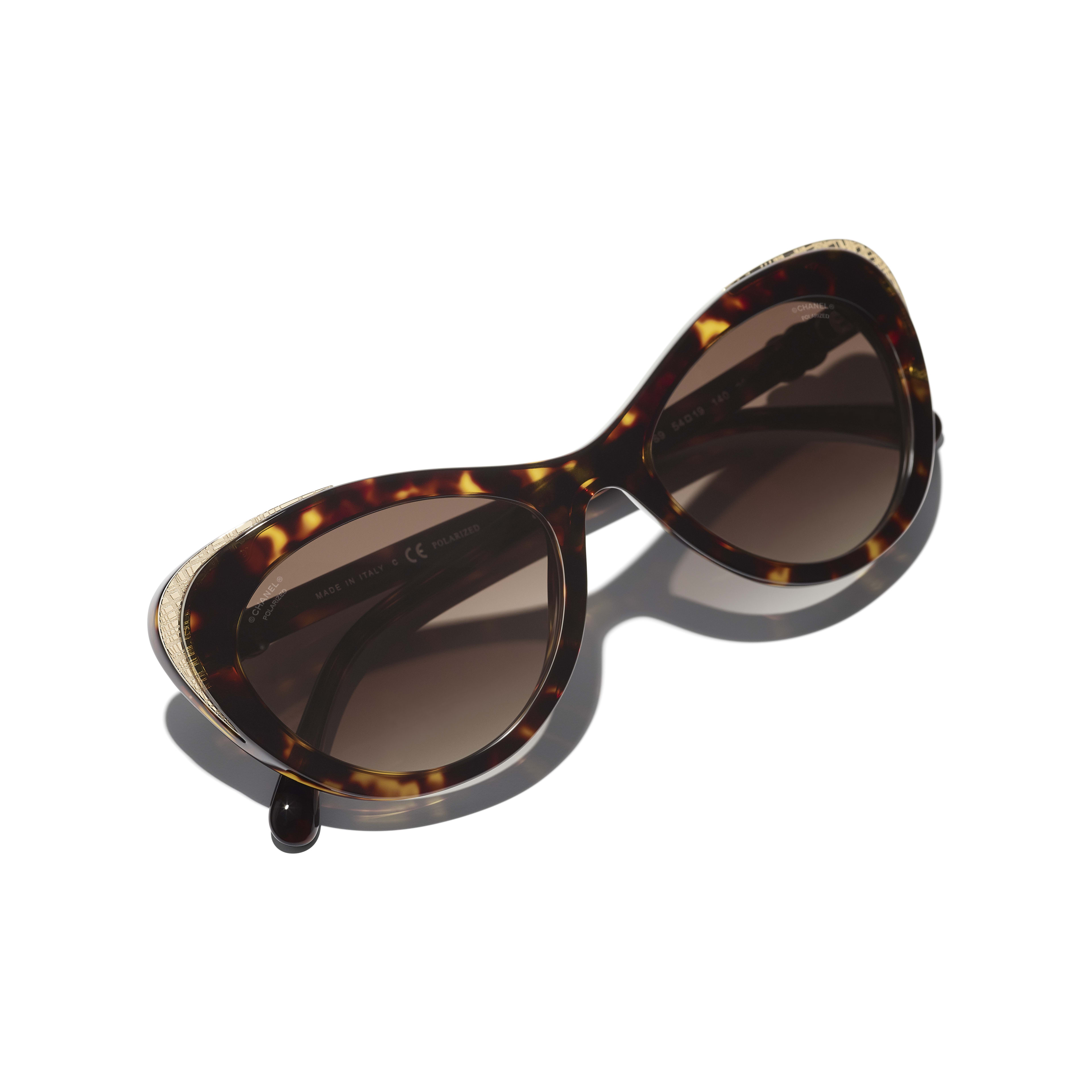 Cat Eye Sunglasses - Dark Tortoise & Gold - Acetate & Metal - CHANEL - Extra view - see standard sized version