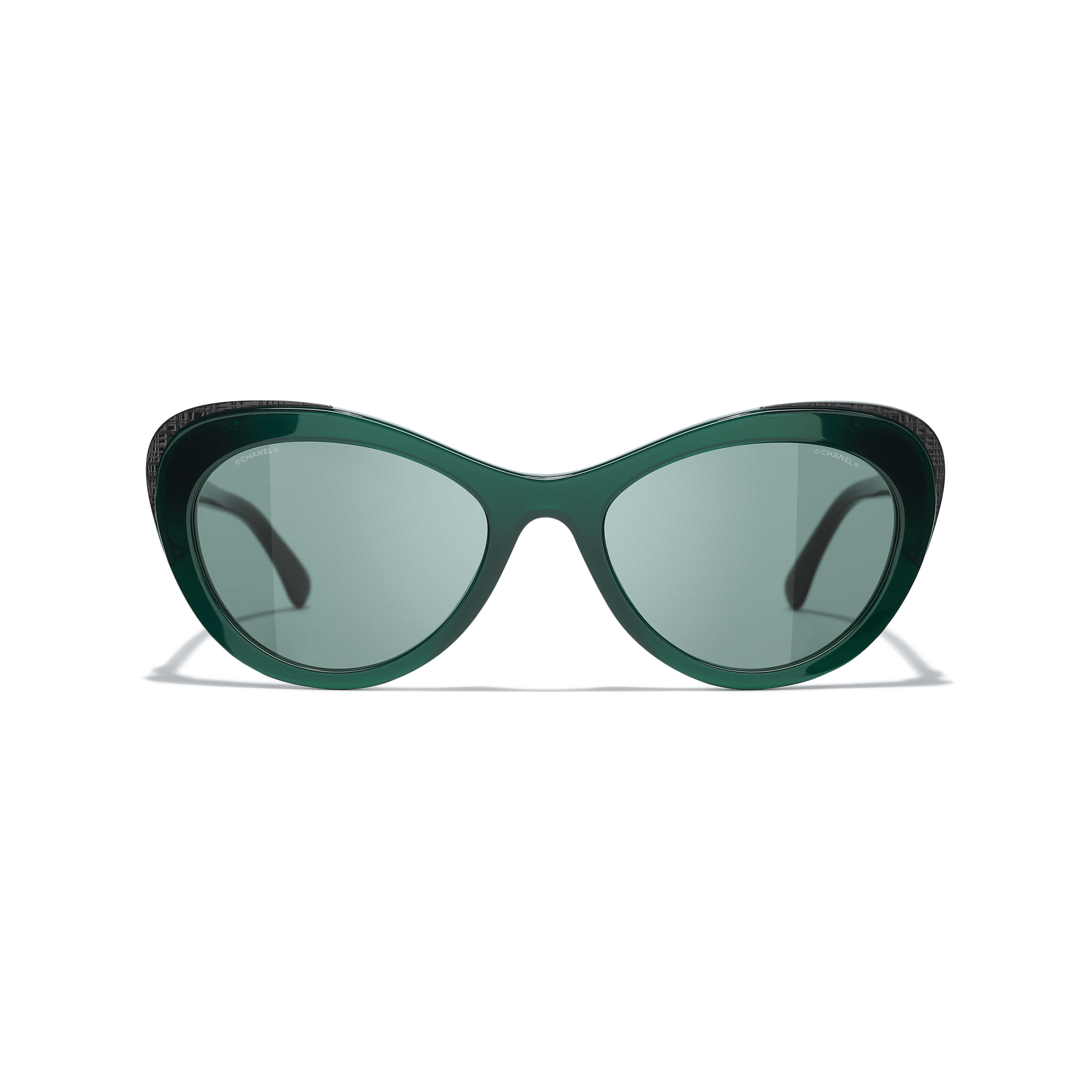 Cat Eye Sunglasses - Green - Acetate & Metal - CHANEL - Alternative view - see standard sized version