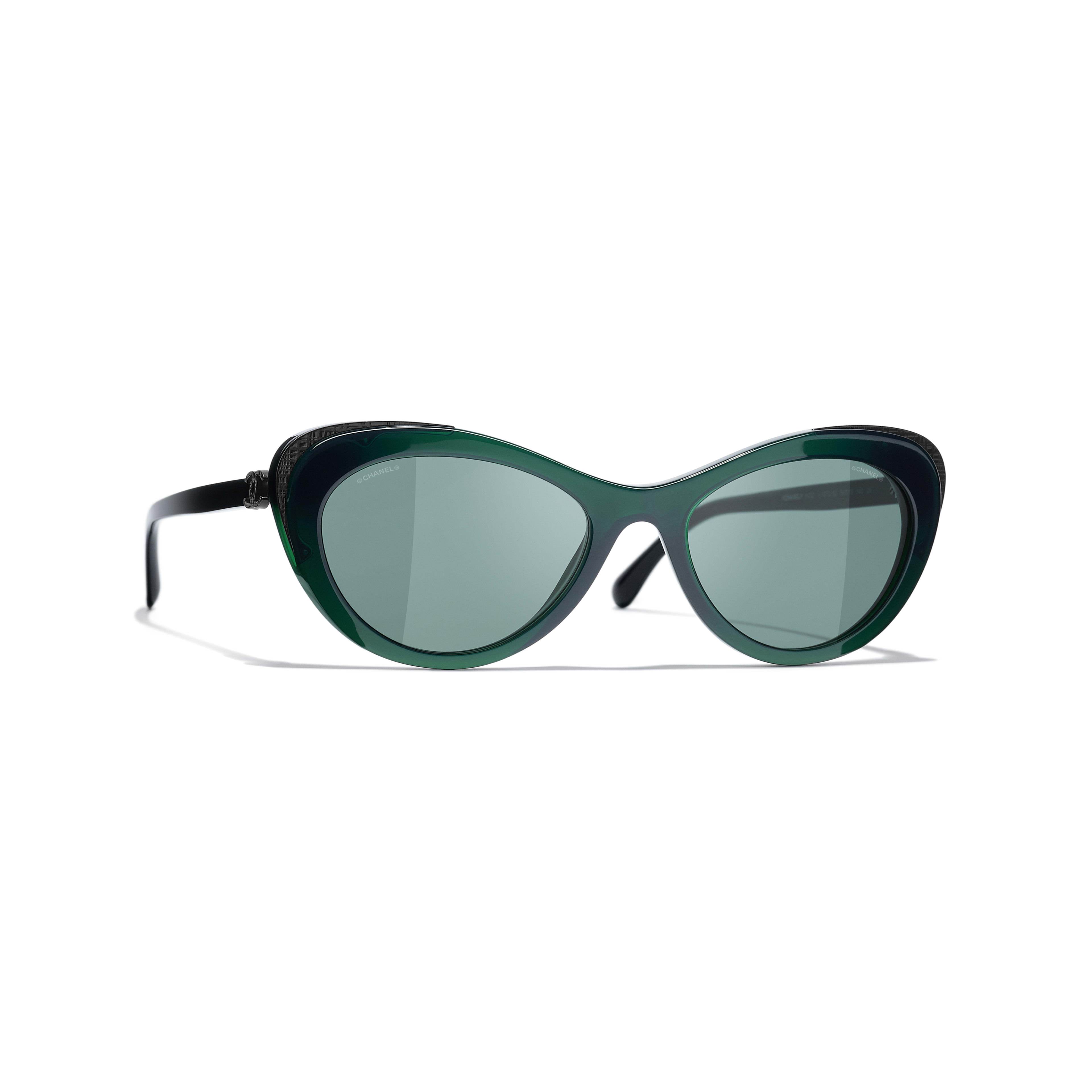 Cat Eye Sunglasses - Green - Acetate & Metal - CHANEL - Default view - see standard sized version