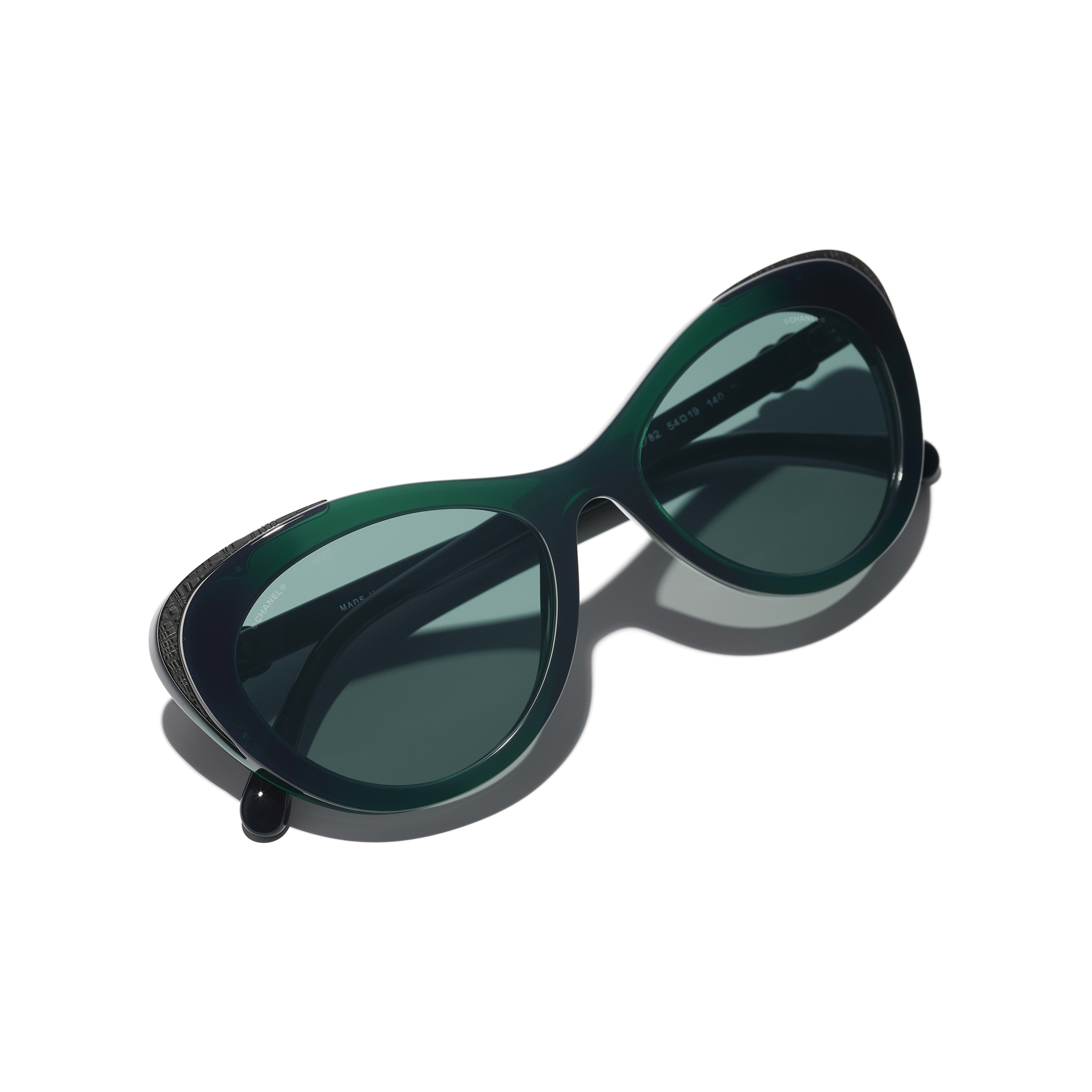 Cat Eye Sunglasses - Green - Acetate & Metal - CHANEL - Extra view - see standard sized version
