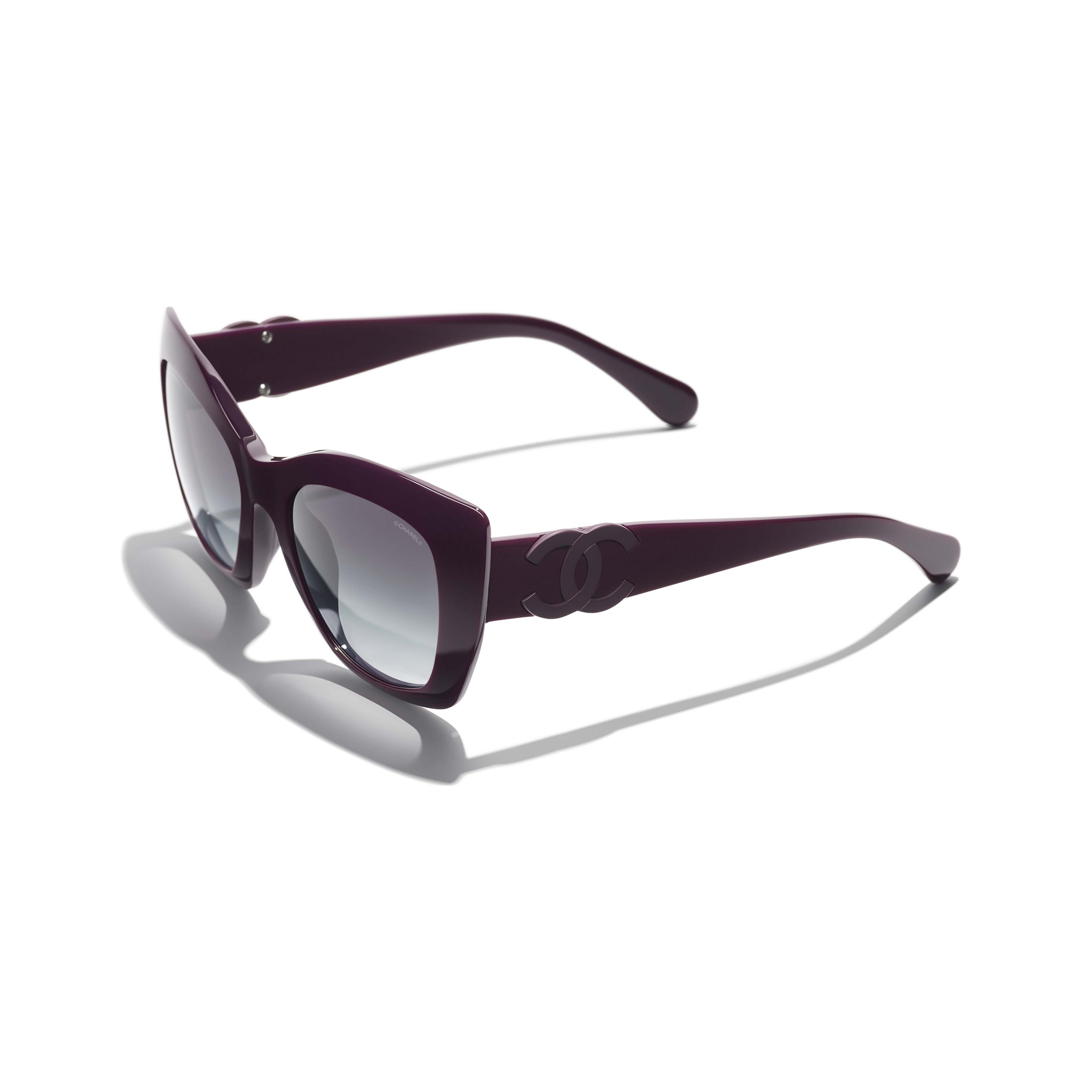 Cat Eye Sunglasses - Purple - Acetate - CHANEL - Extra view - see standard sized version