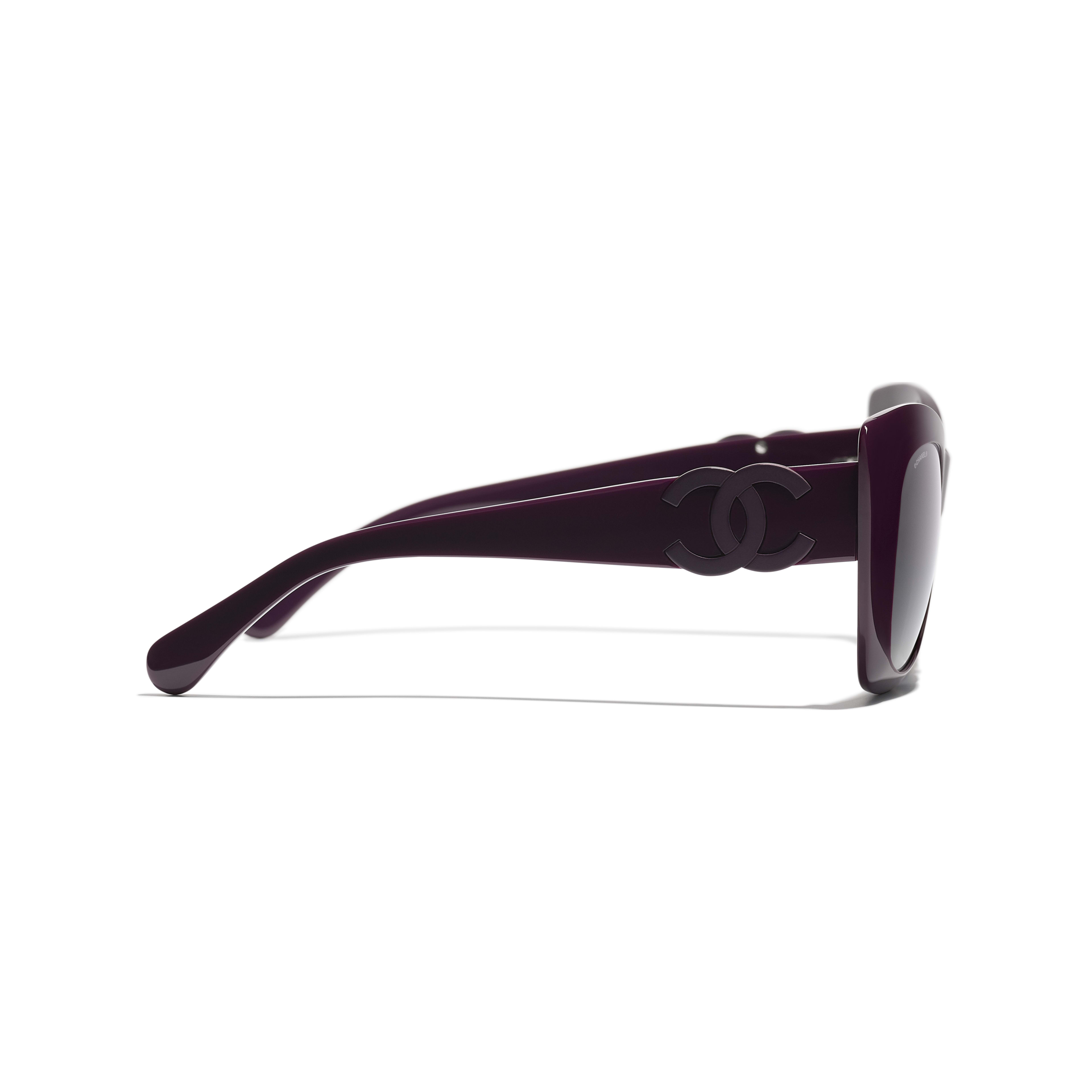 Cat Eye Sunglasses - Purple - Acetate - CHANEL - Other view - see standard sized version