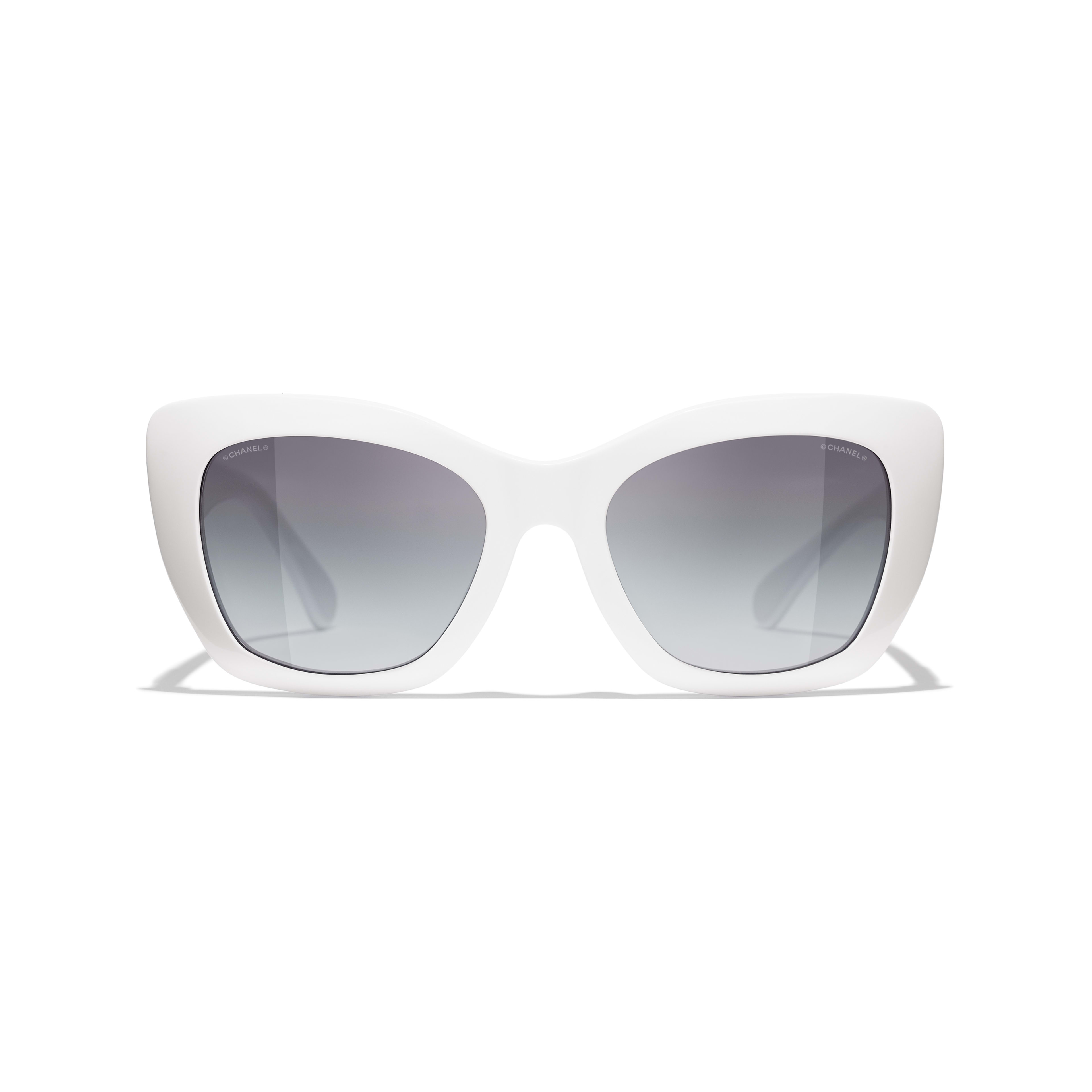 Cat Eye Sunglasses - White - Acetate - CHANEL - Alternative view - see standard sized version