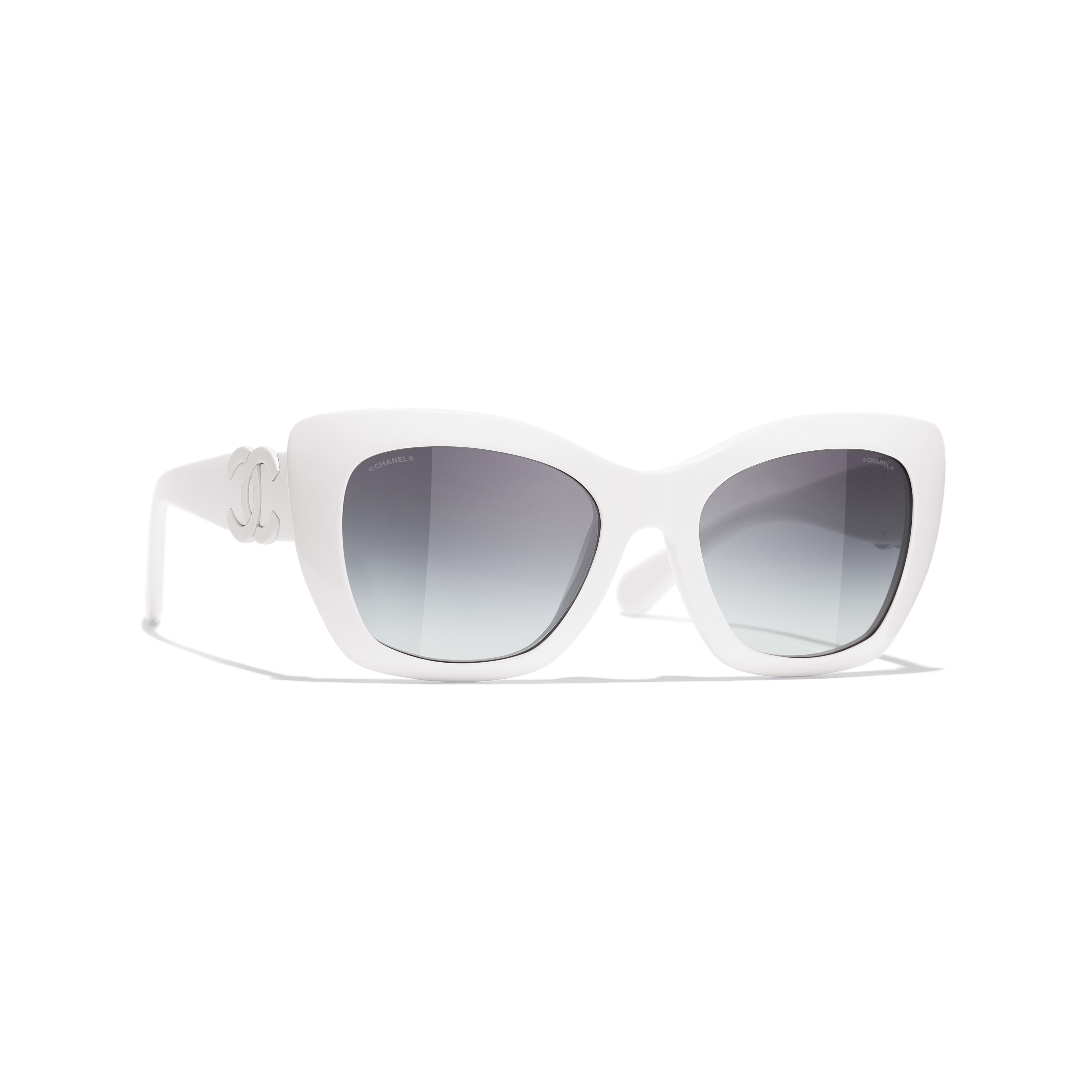 Cat Eye Sunglasses - White - Acetate - CHANEL - Default view - see standard sized version