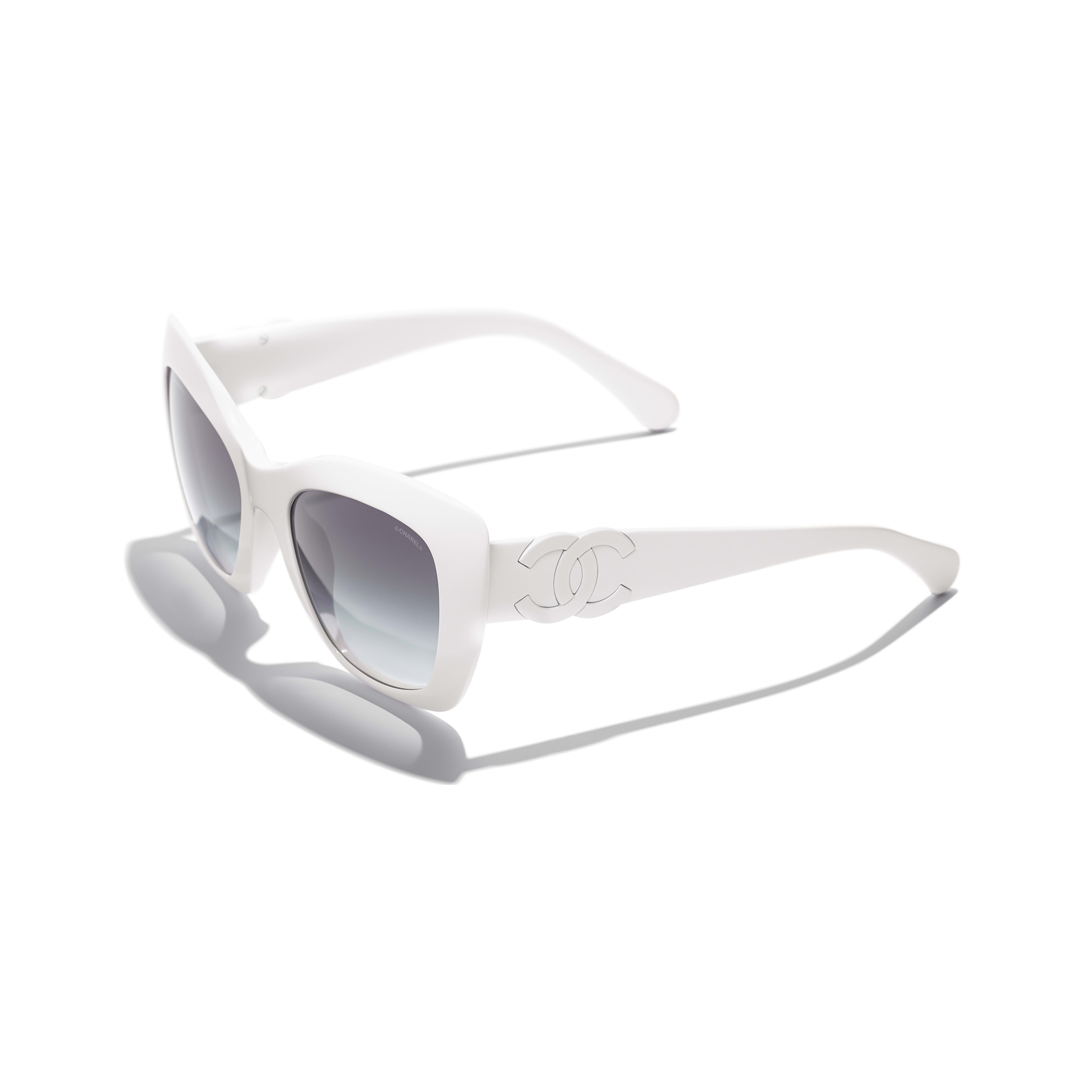 Cat Eye Sunglasses - White - Acetate - CHANEL - Extra view - see standard sized version