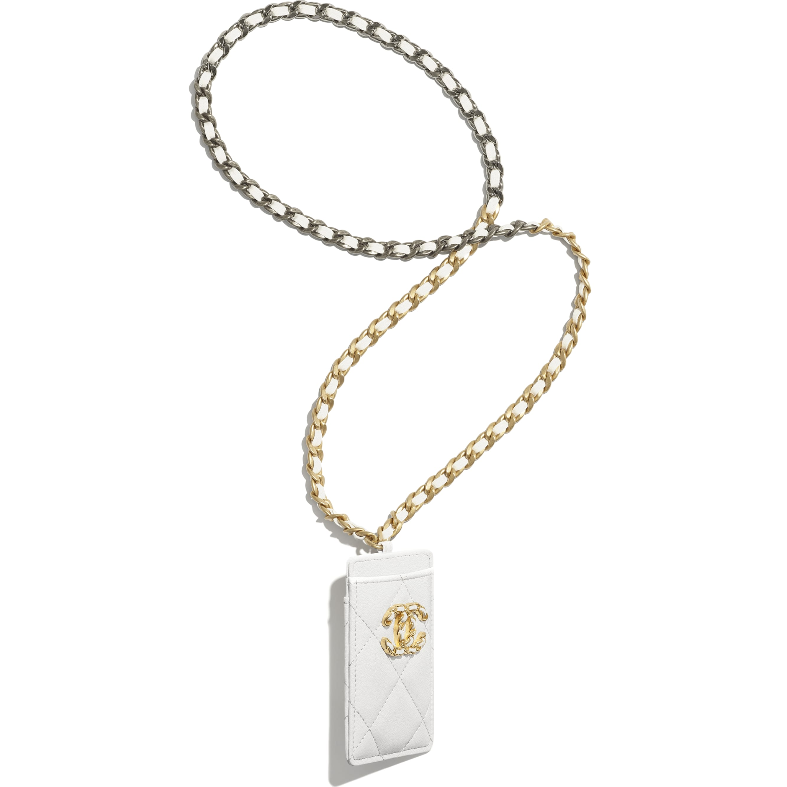 CHANEL 19 Badge Holder - White - Lambskin, Gold-Tone, Silver-Tone & Ruthenium-Finish Metal - CHANEL - Alternative view - see standard sized version