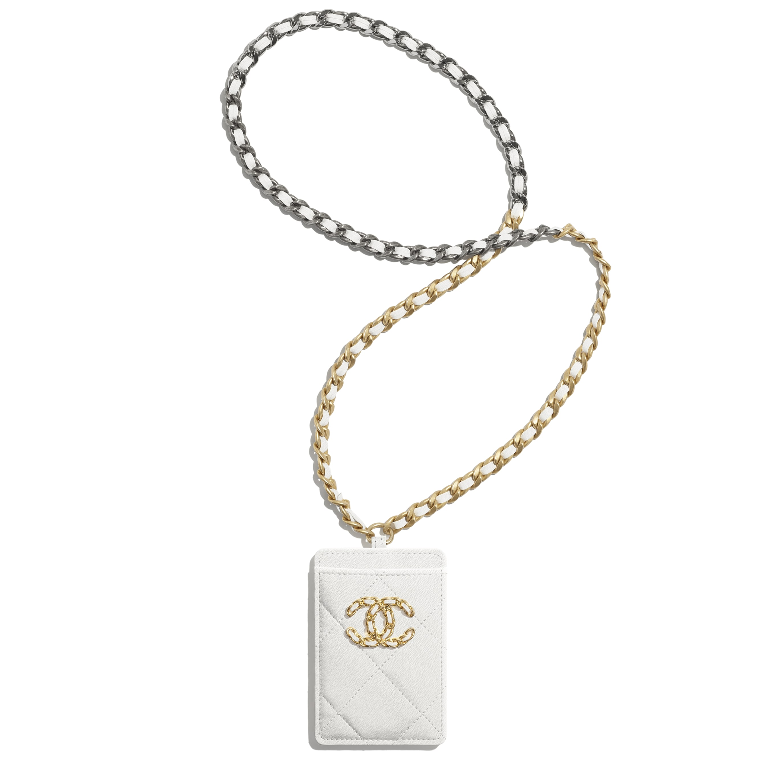 CHANEL 19 Badge Holder - White - Lambskin, Gold-Tone, Silver-Tone & Ruthenium-Finish Metal - CHANEL - Default view - see standard sized version