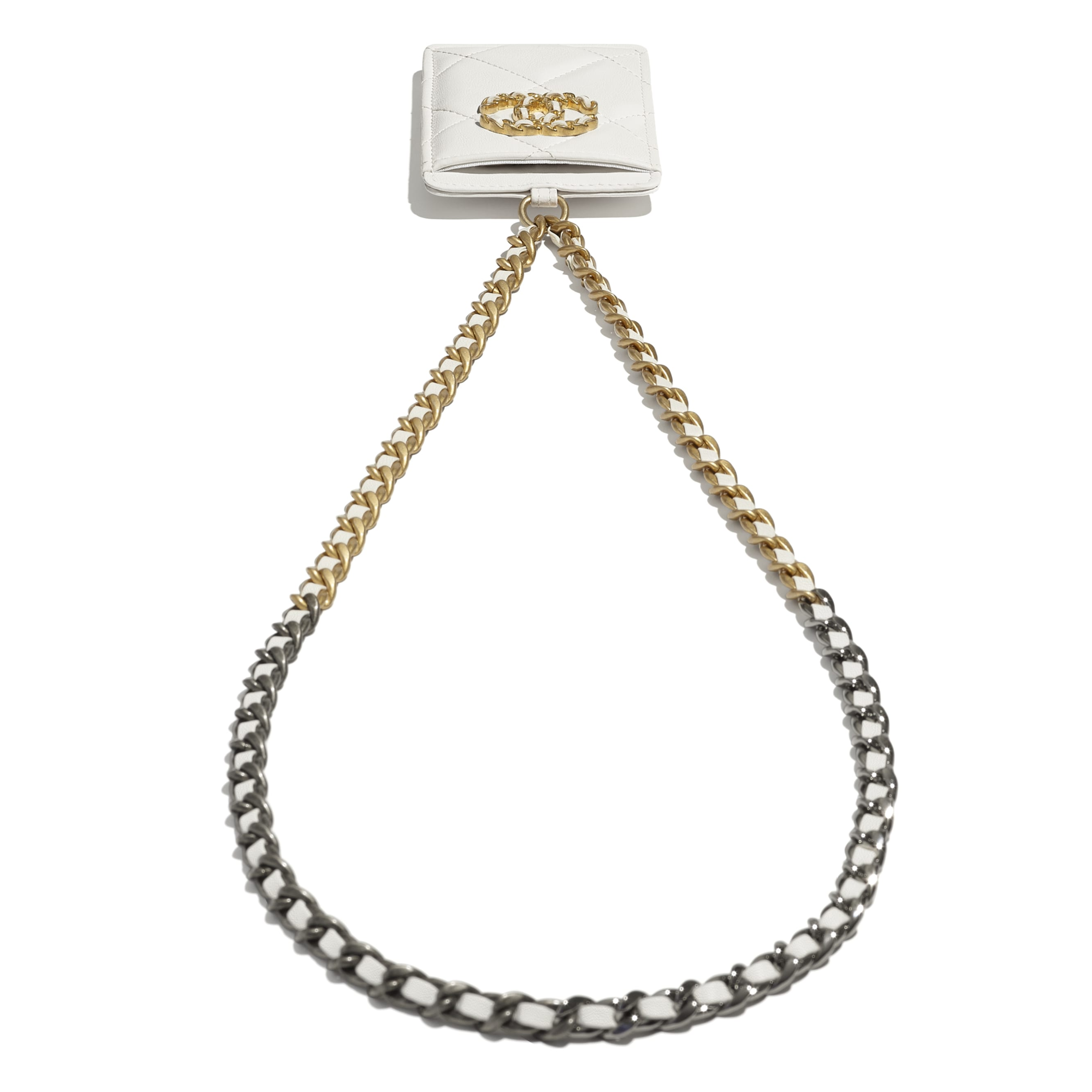 CHANEL 19 Badge Holder - White - Lambskin, Gold-Tone, Silver-Tone & Ruthenium-Finish Metal - CHANEL - Extra view - see standard sized version