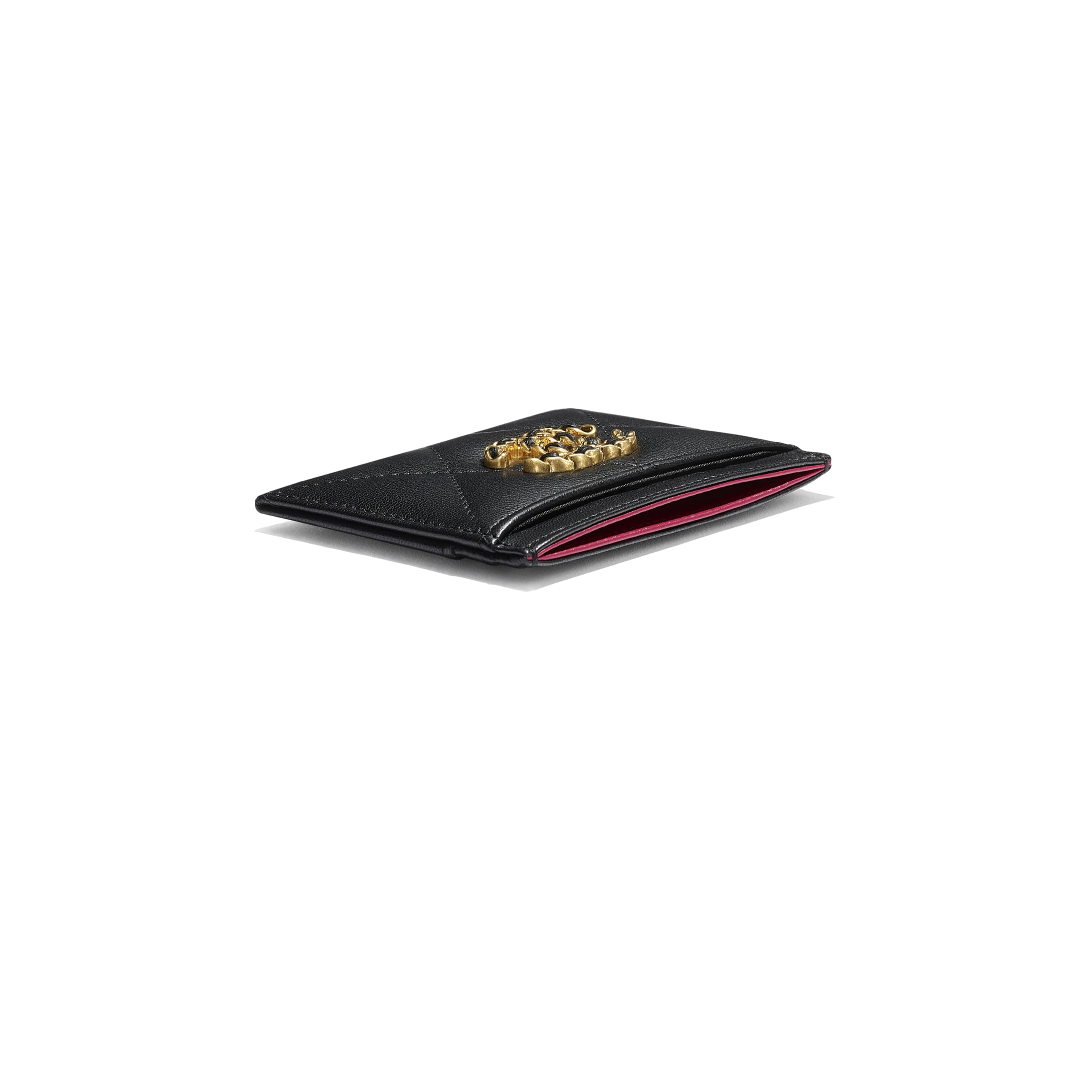 CHANEL 19 Card Holder - Black - Shiny Goatskin, Gold-Tone, Silver-Tone & Ruthenium-Finish Metal - CHANEL - Extra view - see standard sized version